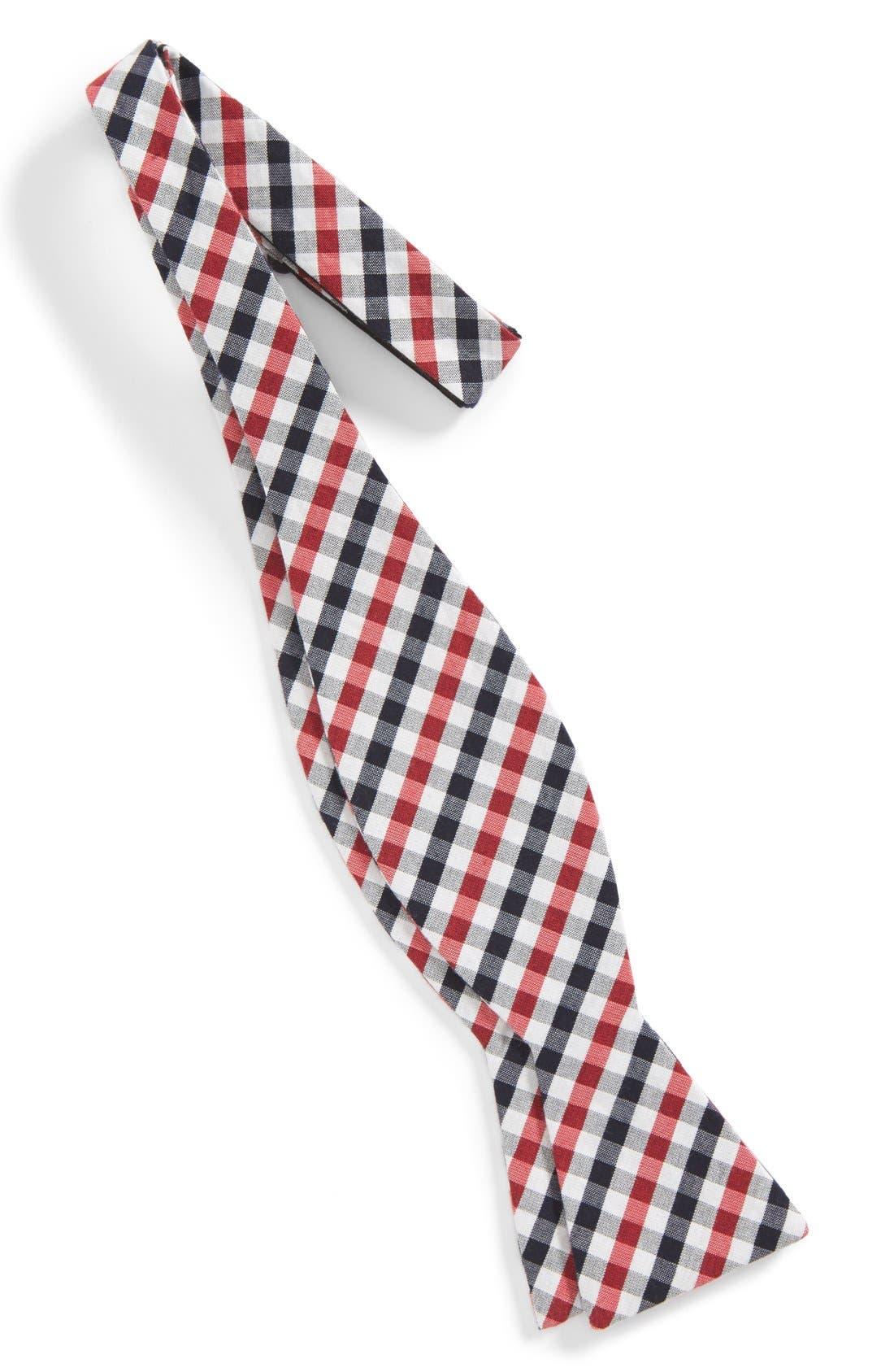 'Bloomquist' Check Silk Blend Bow Tie,                             Alternate thumbnail 9, color,