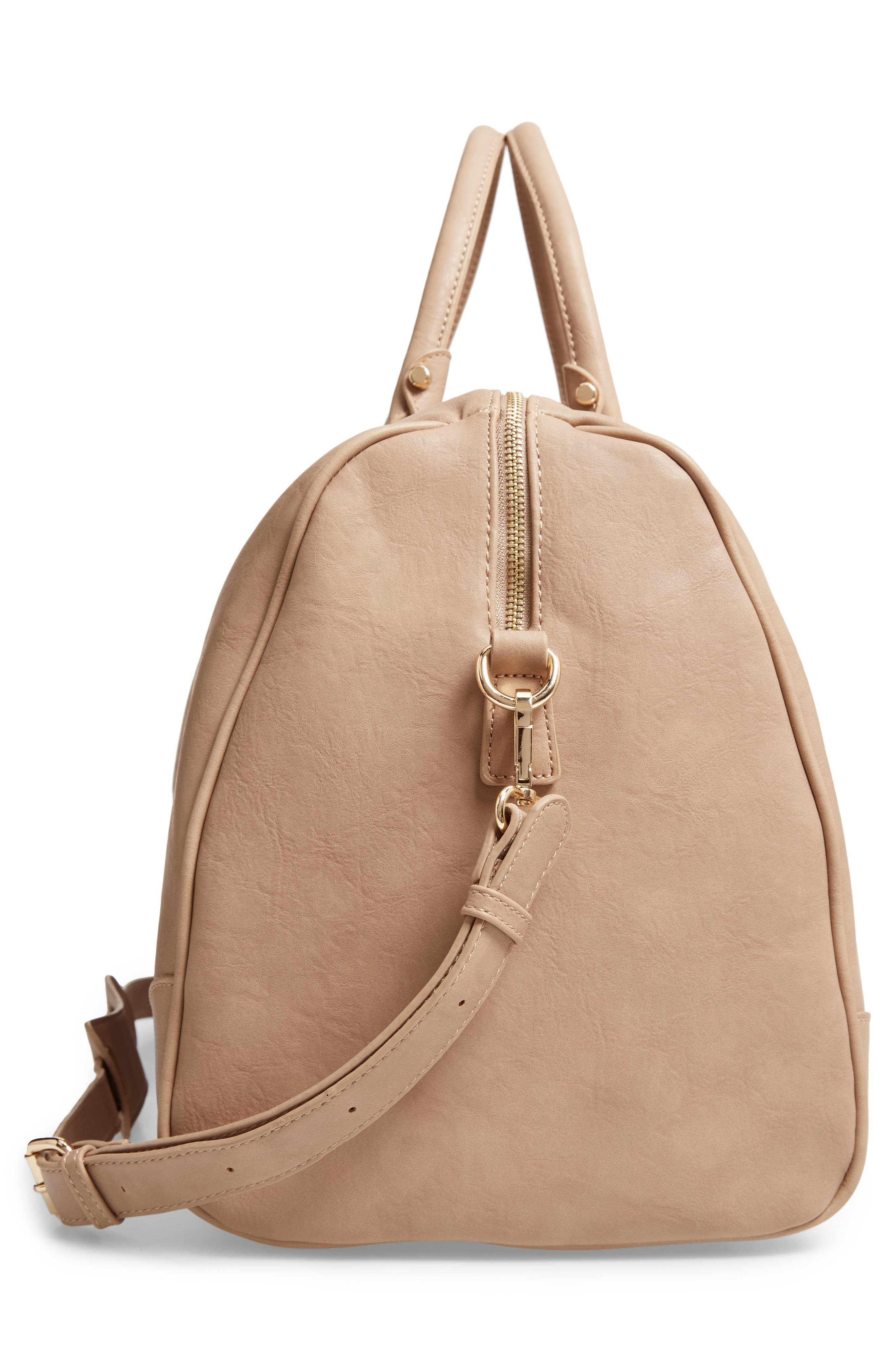 'Robin' Faux Leather Weekend Bag,                             Alternate thumbnail 5, color,                             TAUPE