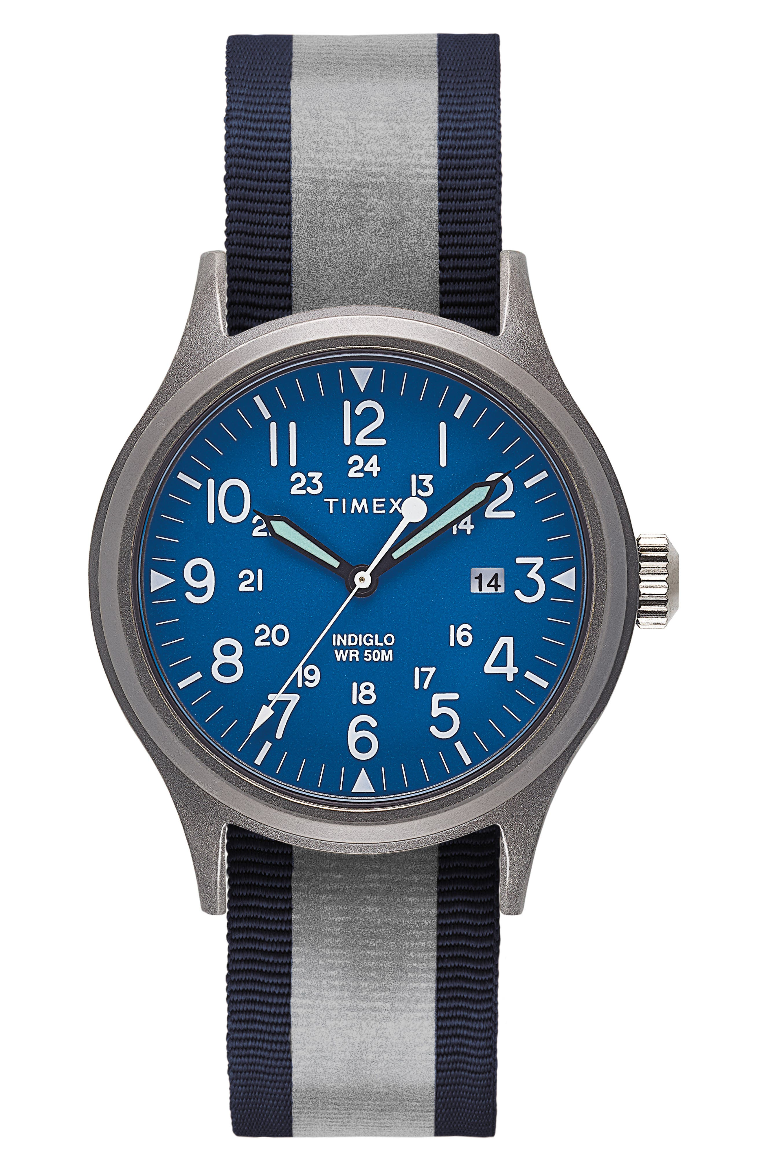Allied Reversible Strap Watch, 40mm,                             Alternate thumbnail 2, color,                             SILVER/ BLUE