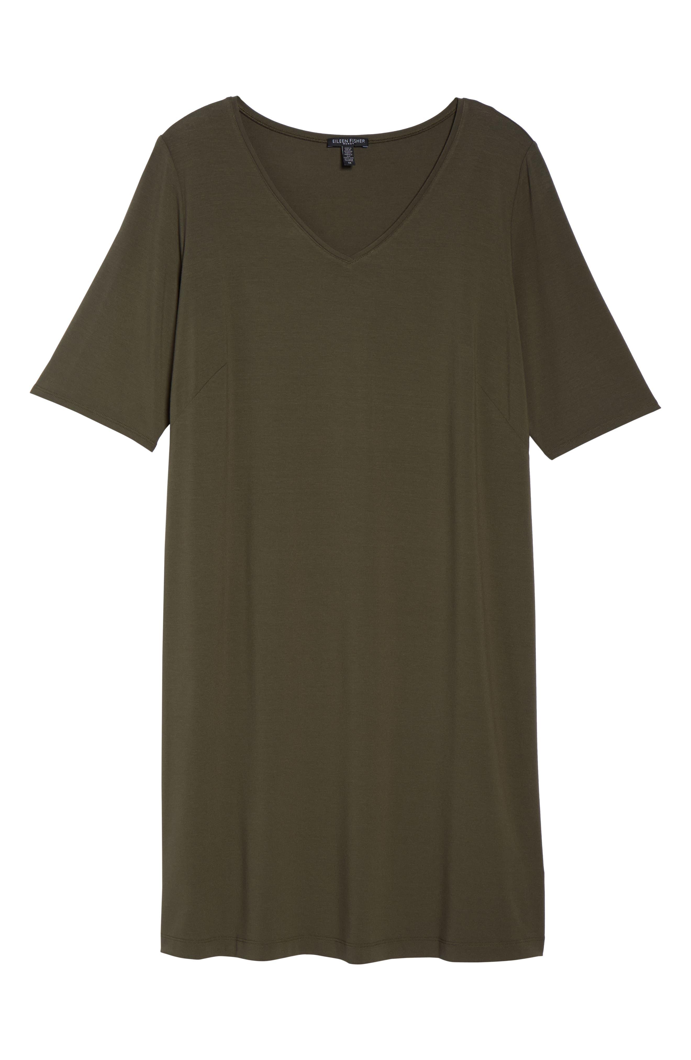 V-Neck Stretch Jersey Shift Dress,                             Alternate thumbnail 28, color,