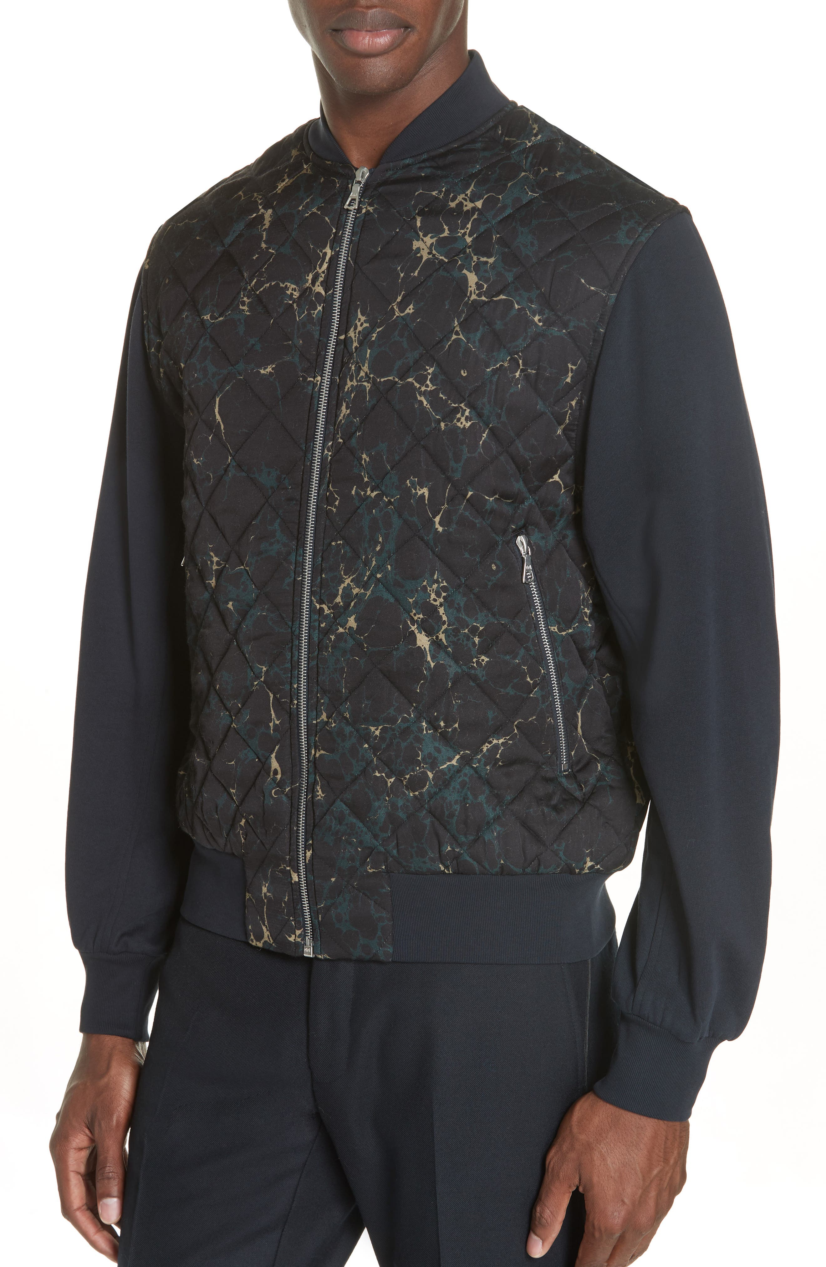 Quilted Fleece Bomber Jacket,                             Alternate thumbnail 4, color,                             410