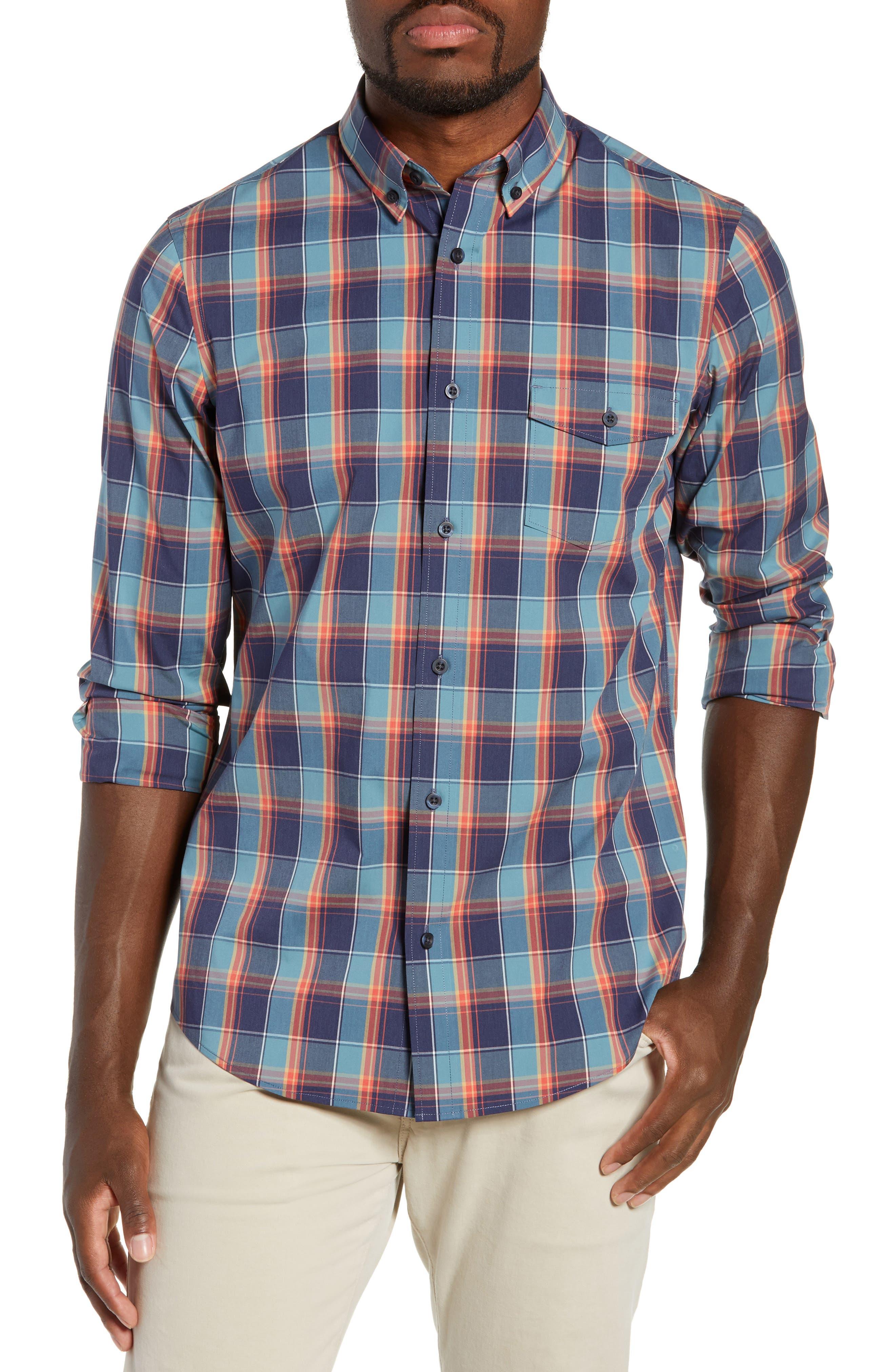 Tech-Smart Regular Fit Plaid Sport Shirt,                         Main,                         color, NAVY CORAL PLAID