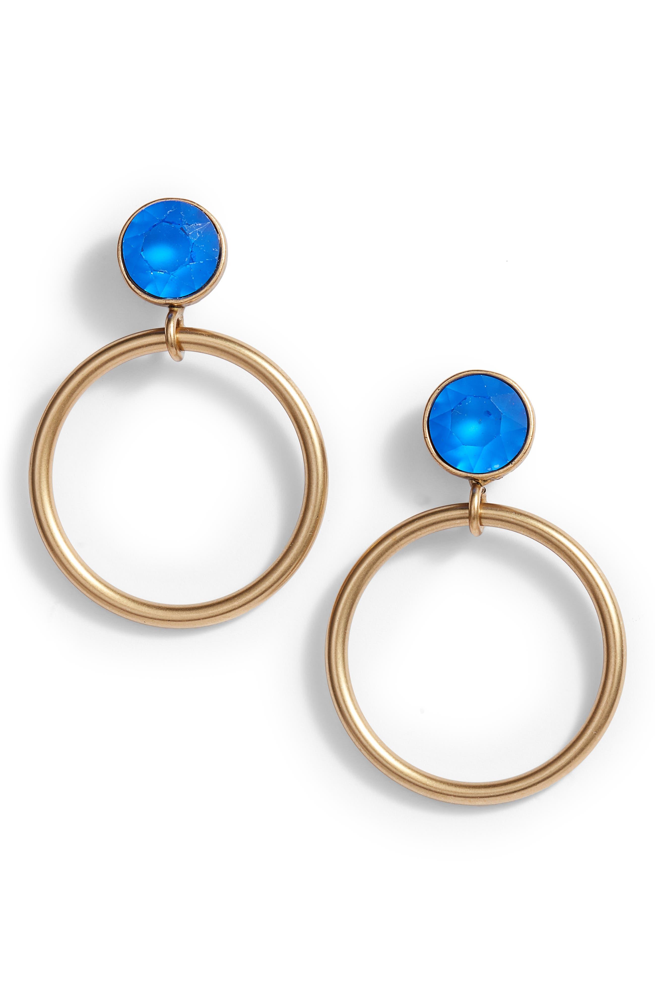Cecelia Crystal Drop Hoop Earrings,                         Main,                         color, SAPPHIRE