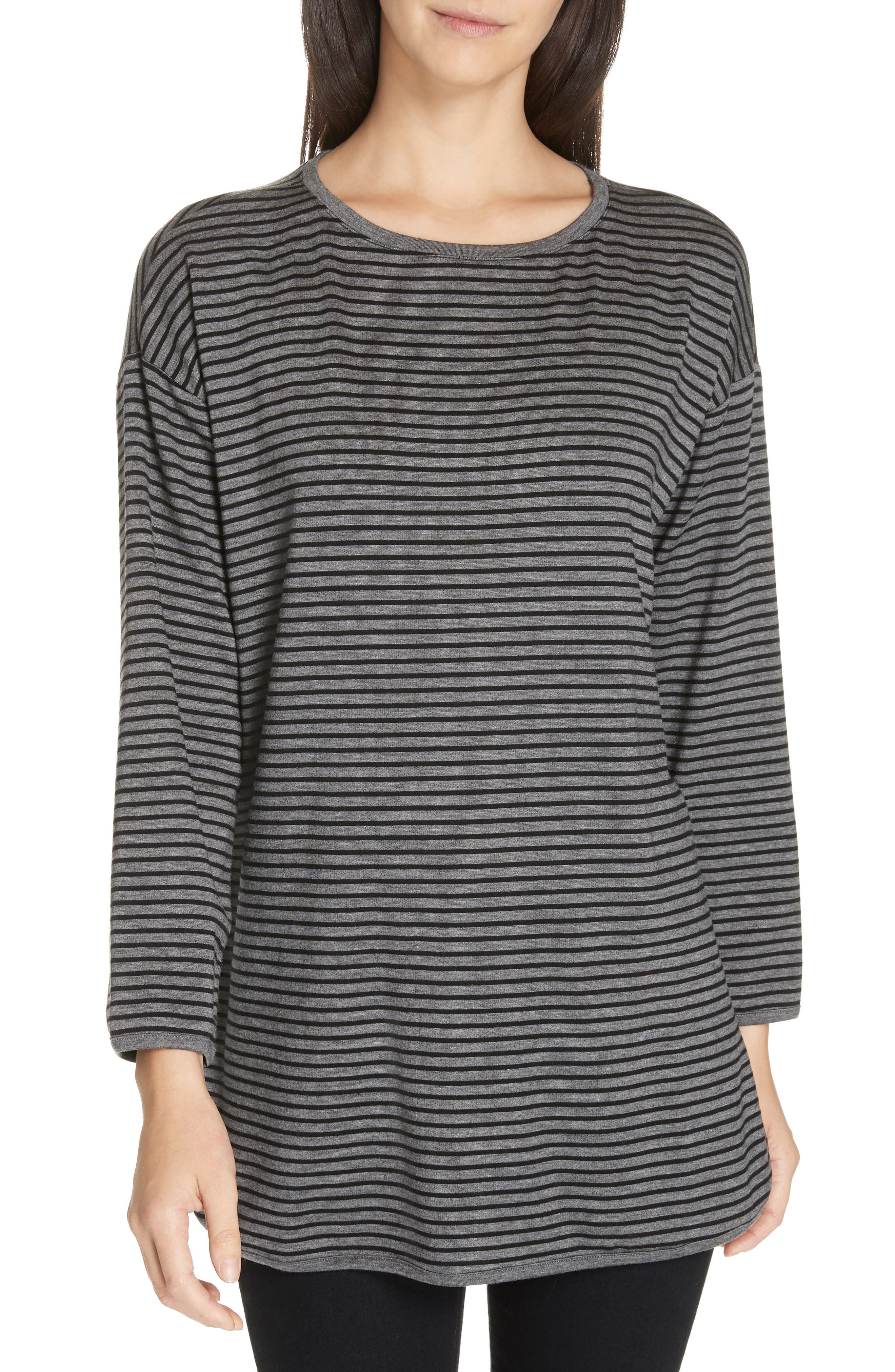 EILEEN FISHER Stripe Terry Tunic, Main, color, 091