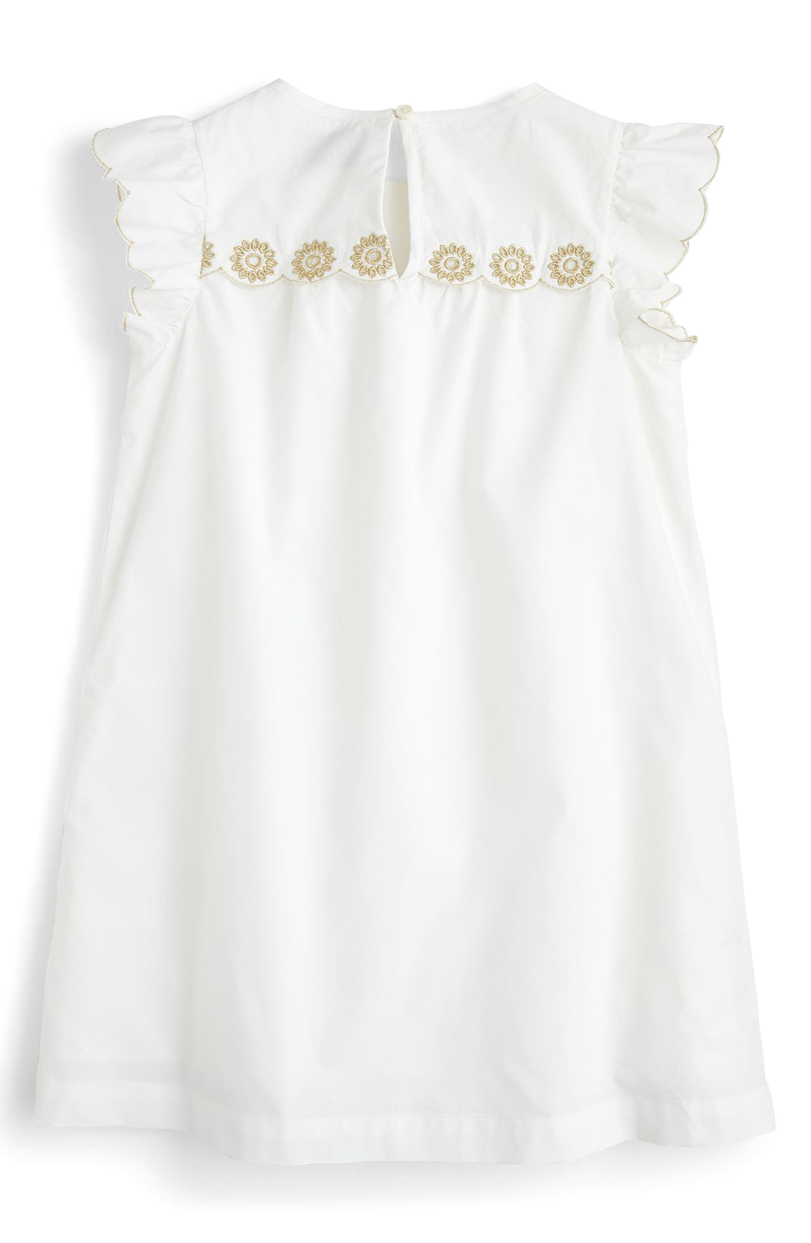 Floral Embroidered Shift Dress,                             Alternate thumbnail 2, color,                             100