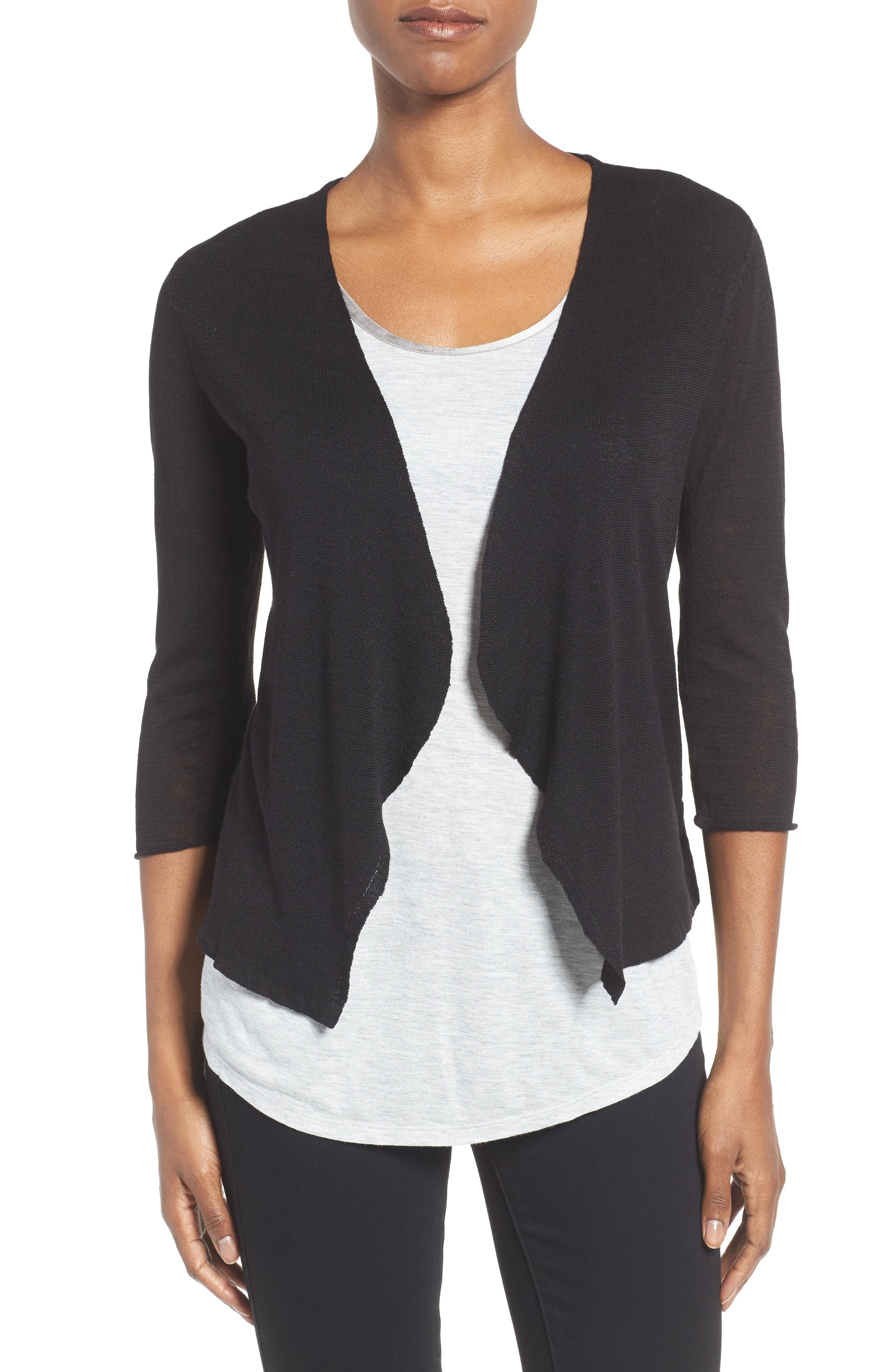Open Blazer Cardigan,                         Main,                         color, BLACK ONYX