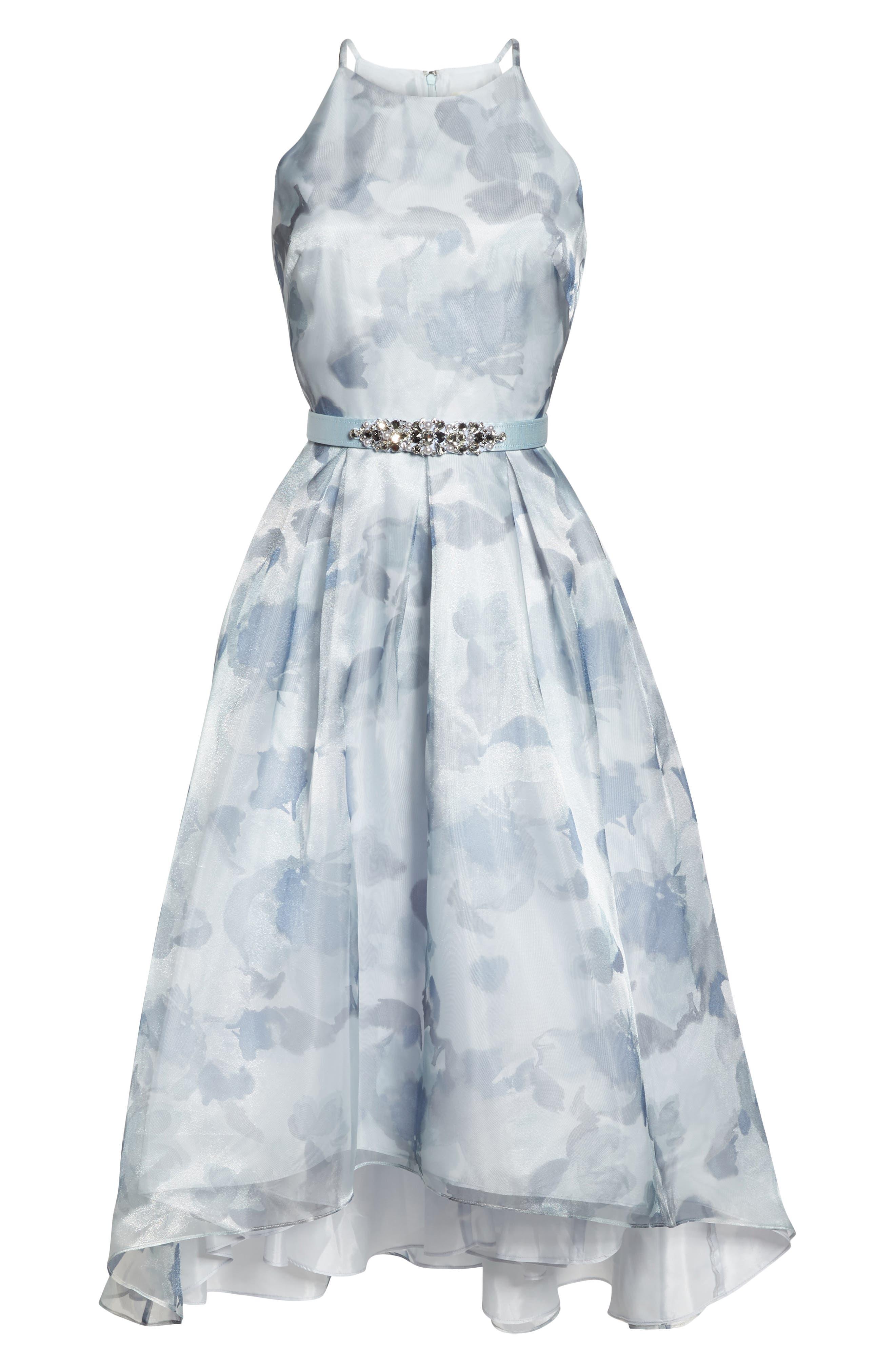 Belted Halter High/Low Dress,                             Alternate thumbnail 6, color,                             400