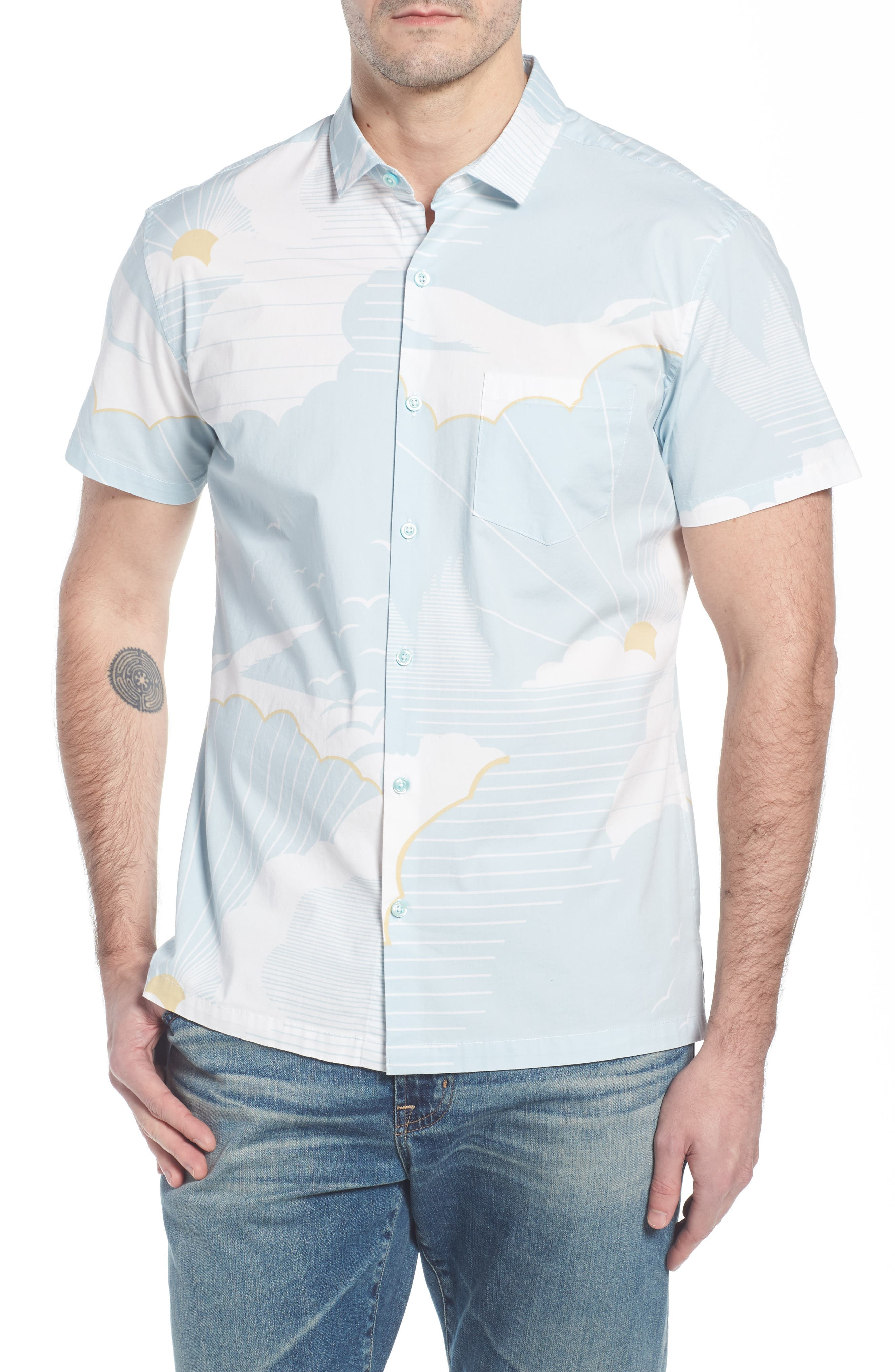 Daybreak Trim Fit Camp Shirt,                         Main,                         color, WATER