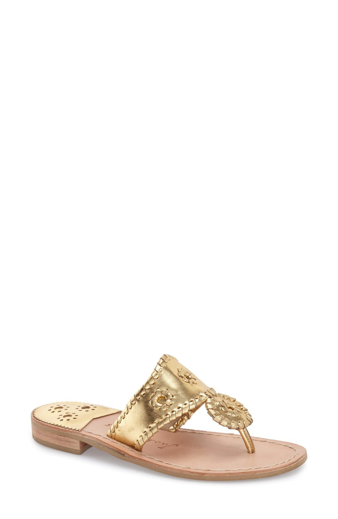 JACK ROGERS Palm Beach Whipstitch Thong Sandal in Gold