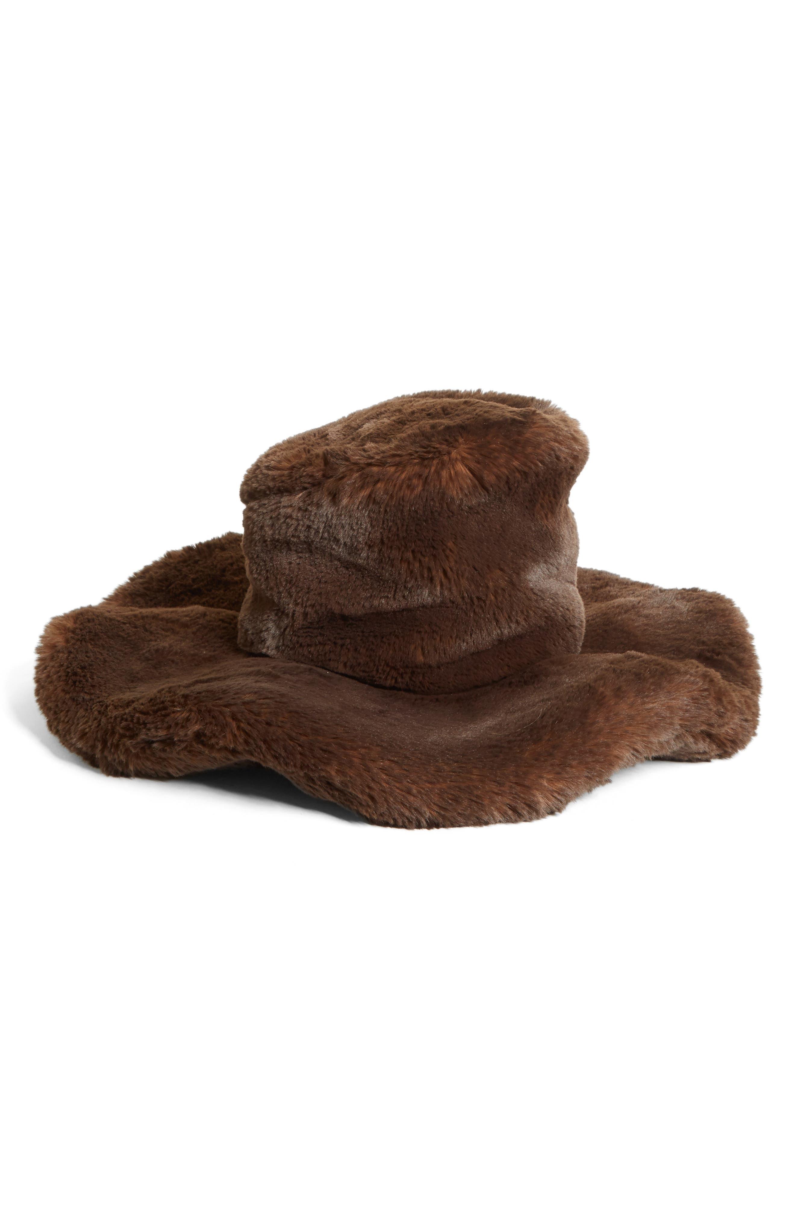 Oversized Faux Fur Wide Brim Hat, Main, color, 200