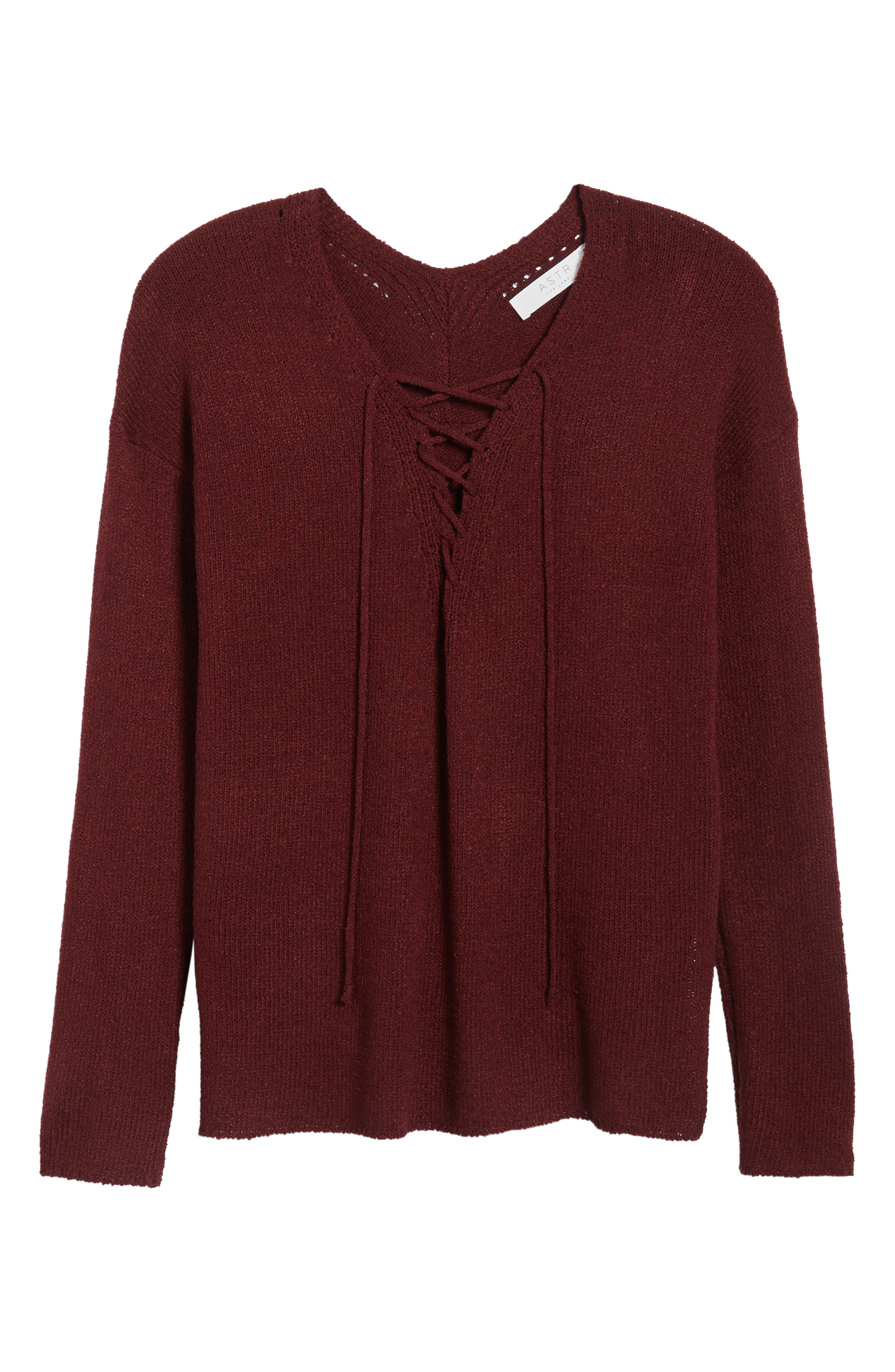 ASTR Lace-Up Sweater,                             Alternate thumbnail 6, color,                             930