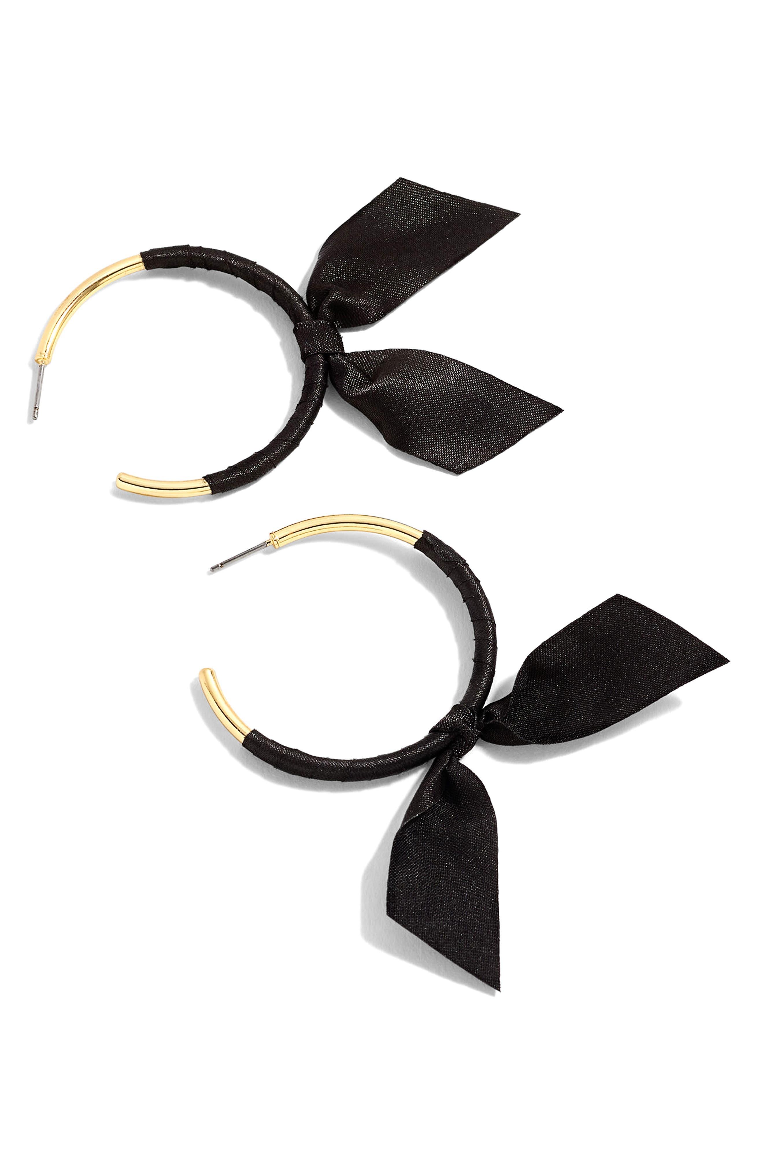 J.CREW Ribbon Wrapped Hoop Earrings, Main, color, 001
