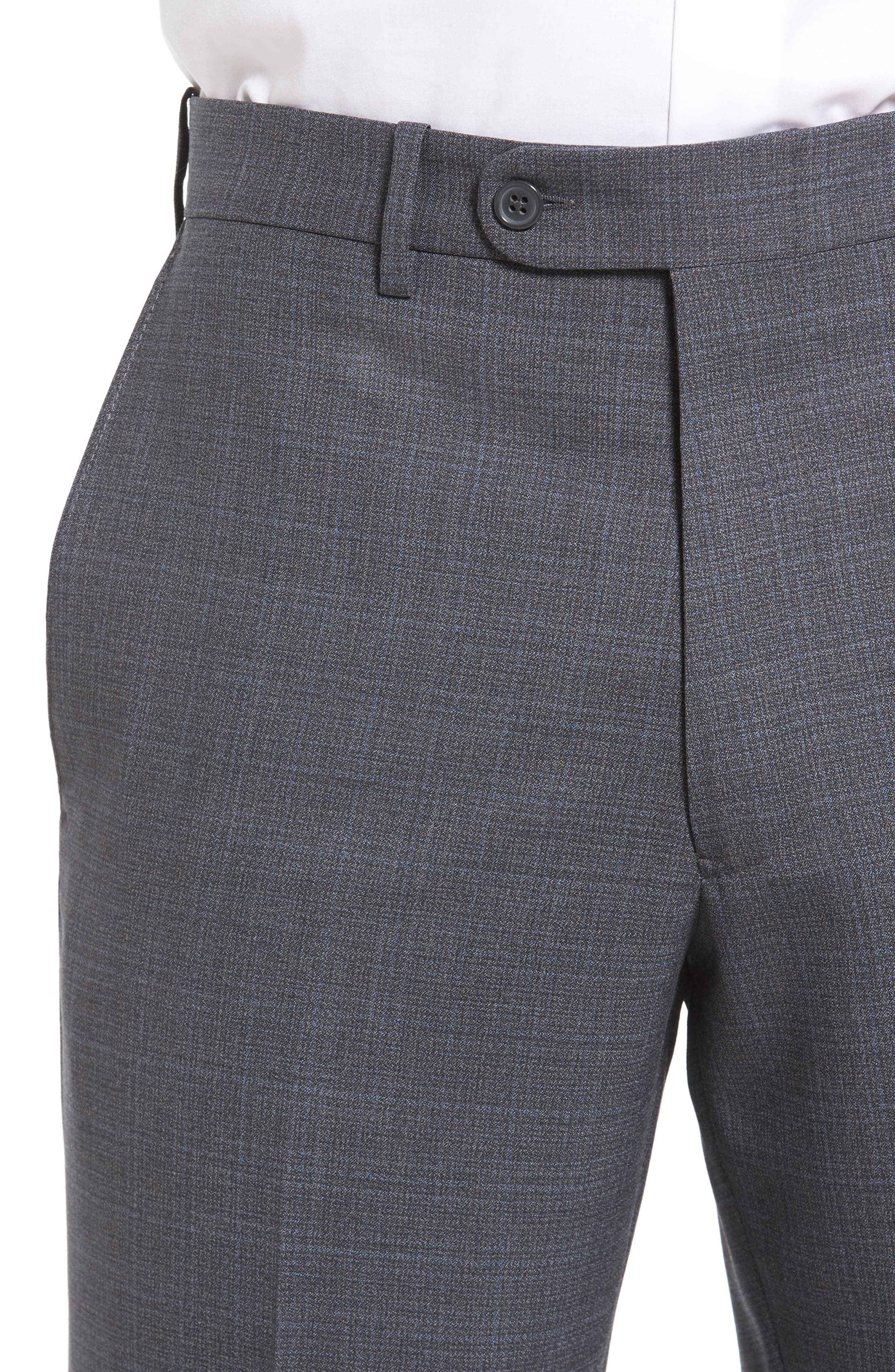 Flat Front Plaid Wool Trousers,                             Alternate thumbnail 14, color,