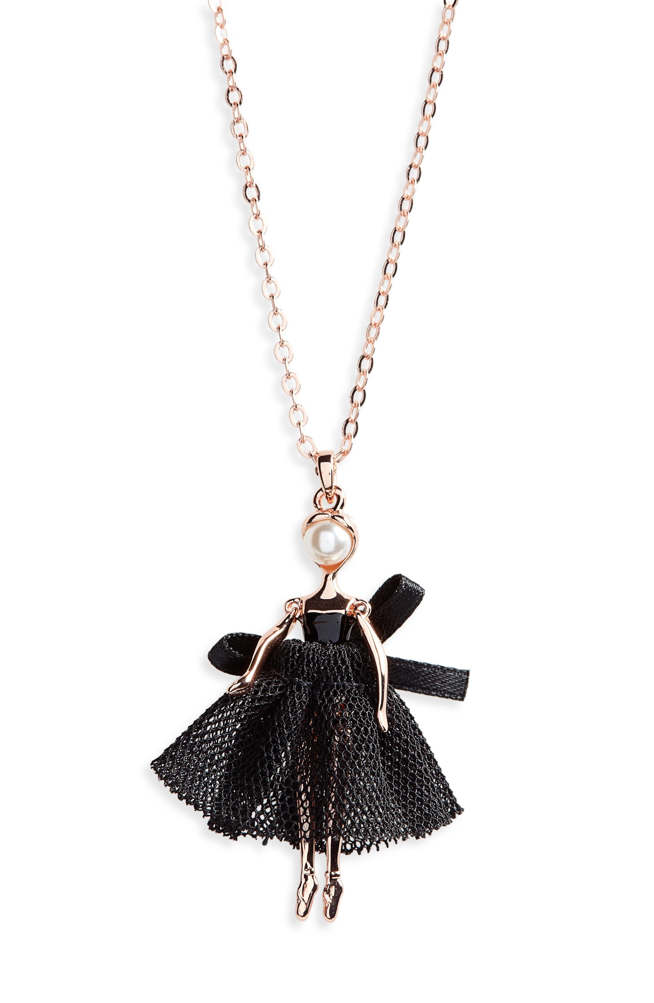 Carabel Ballerina Pendant Necklace,                         Main,                         color,