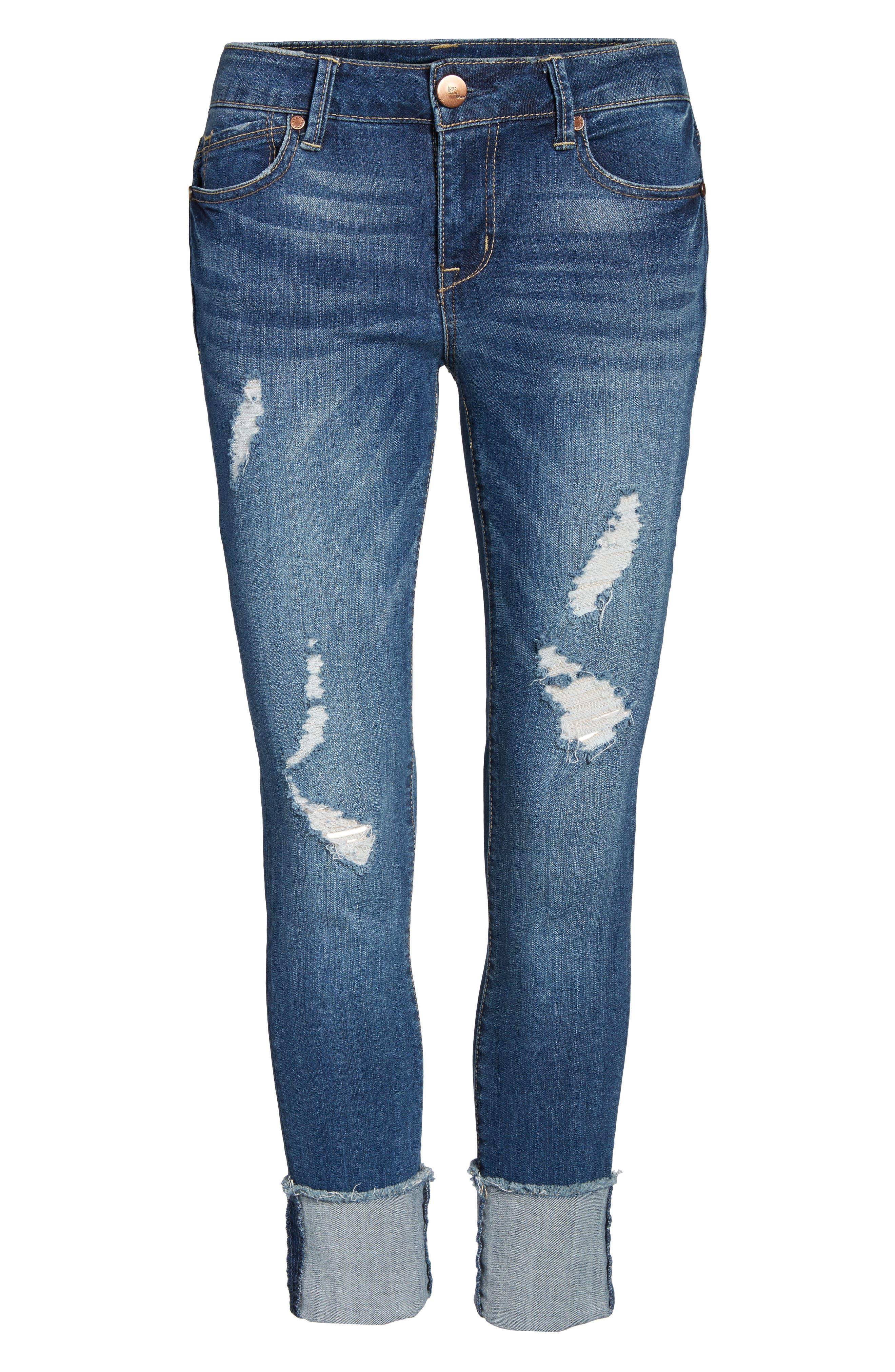 Cuffed Crop Skinny Jeans,                             Alternate thumbnail 6, color,                             IRENE