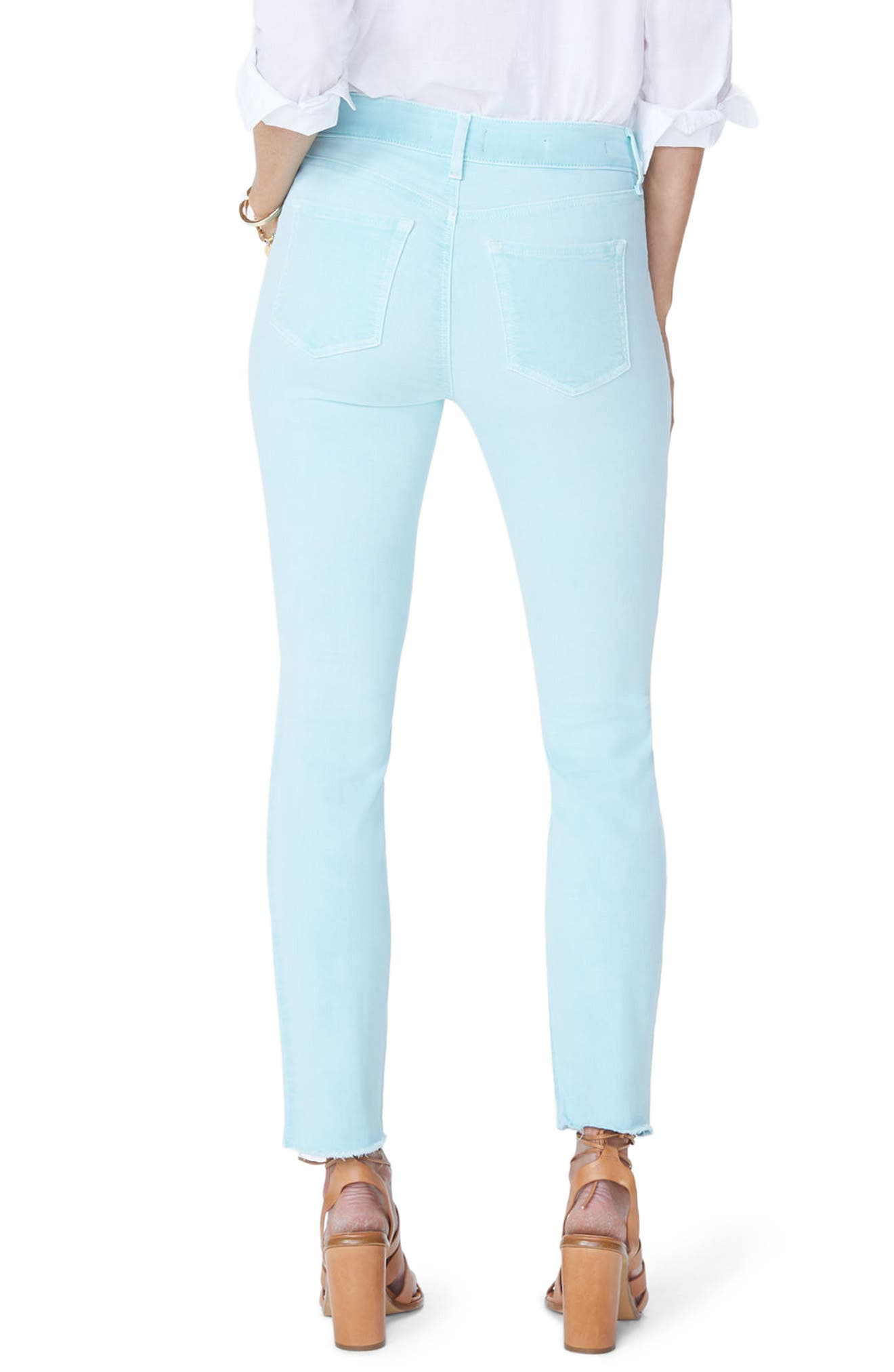 Sheri High Waist Frayed Hem Stretch Slim Ankle Jeans,                             Alternate thumbnail 2, color,                             PALE CABANA