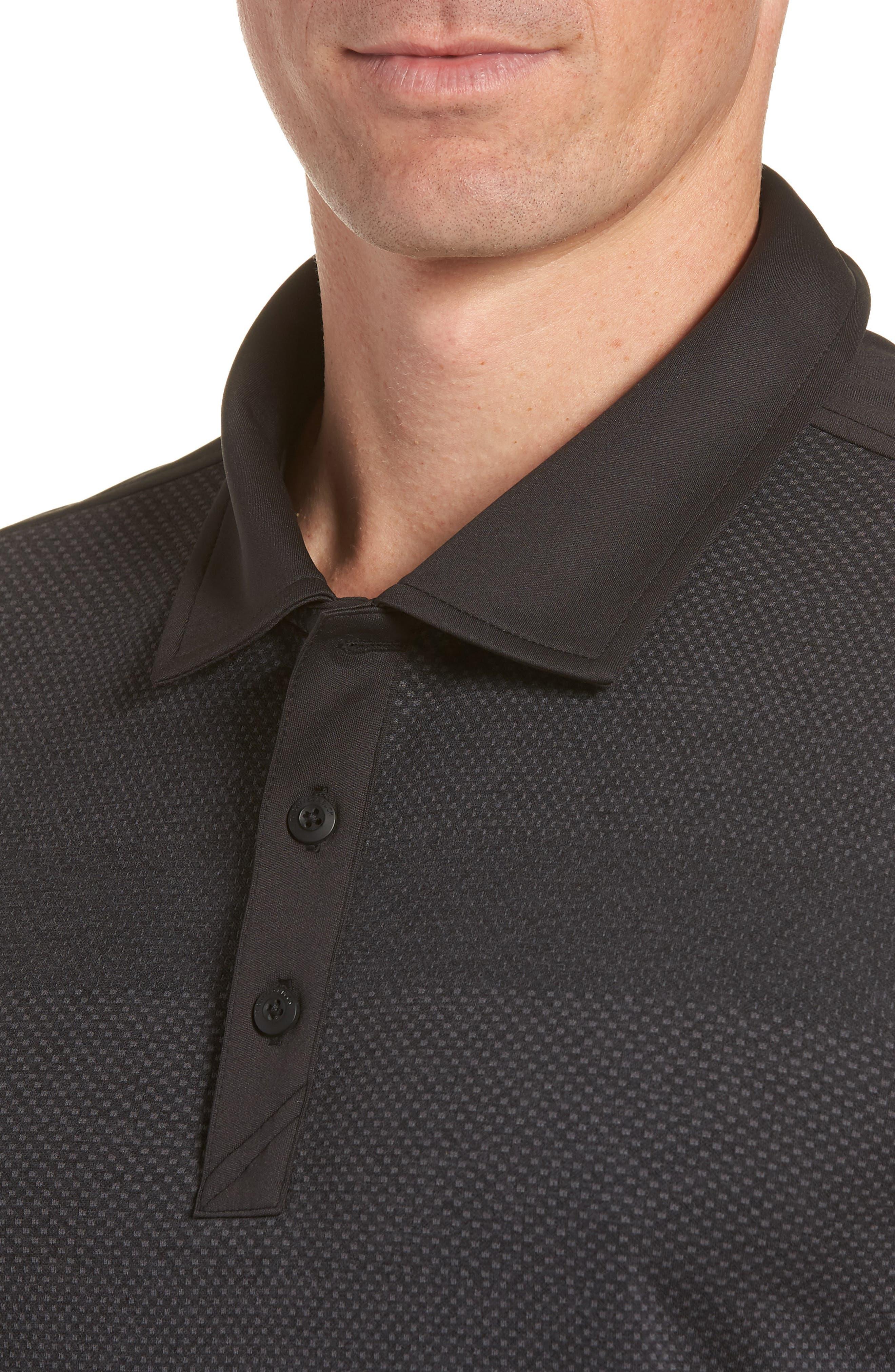 Crescent Striped Polo,                             Alternate thumbnail 4, color,                             BLACK