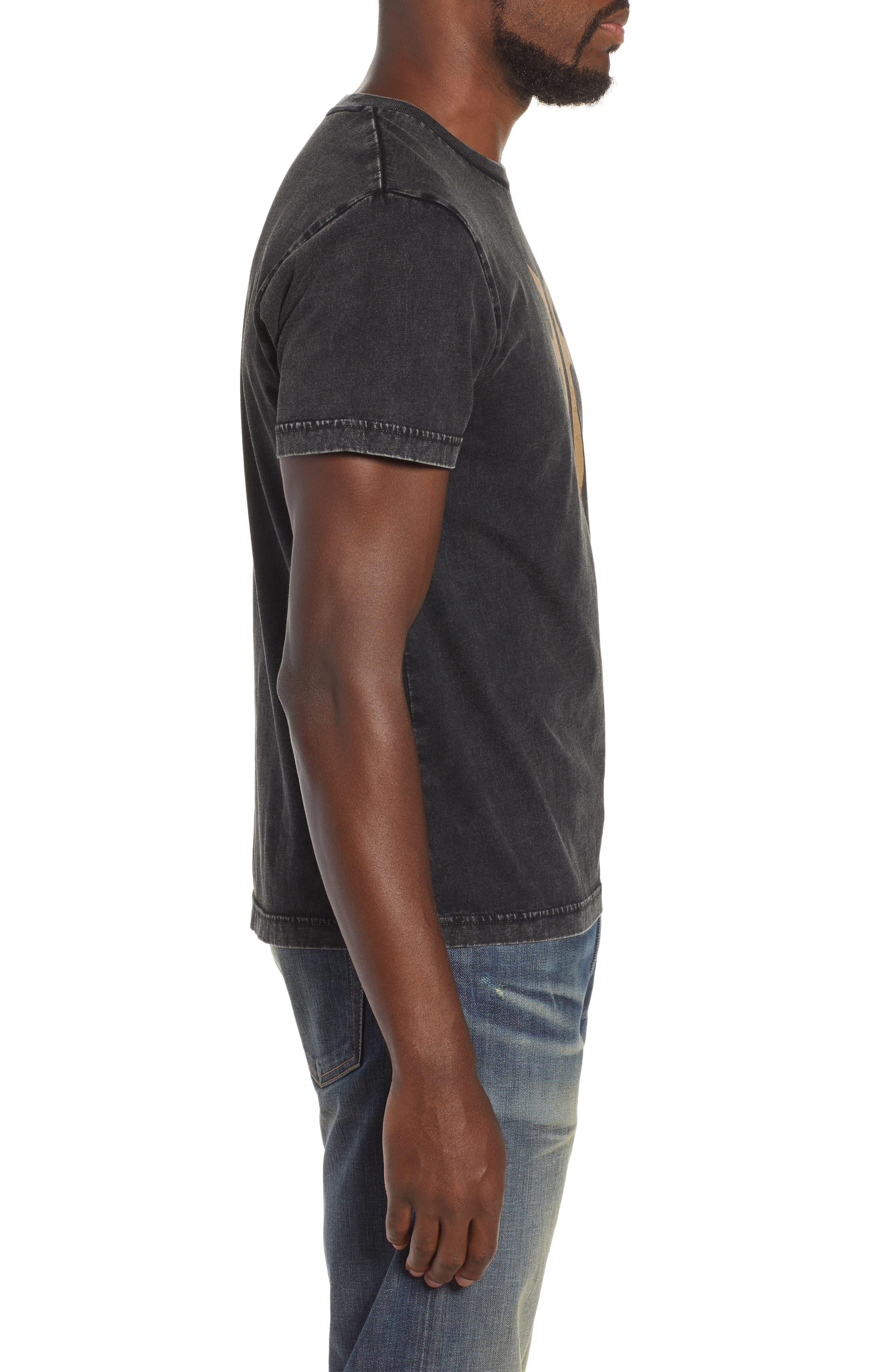Double-F Logo Acid Wash T-Shirt,                             Alternate thumbnail 3, color,                             JET BLACK ACID WASH