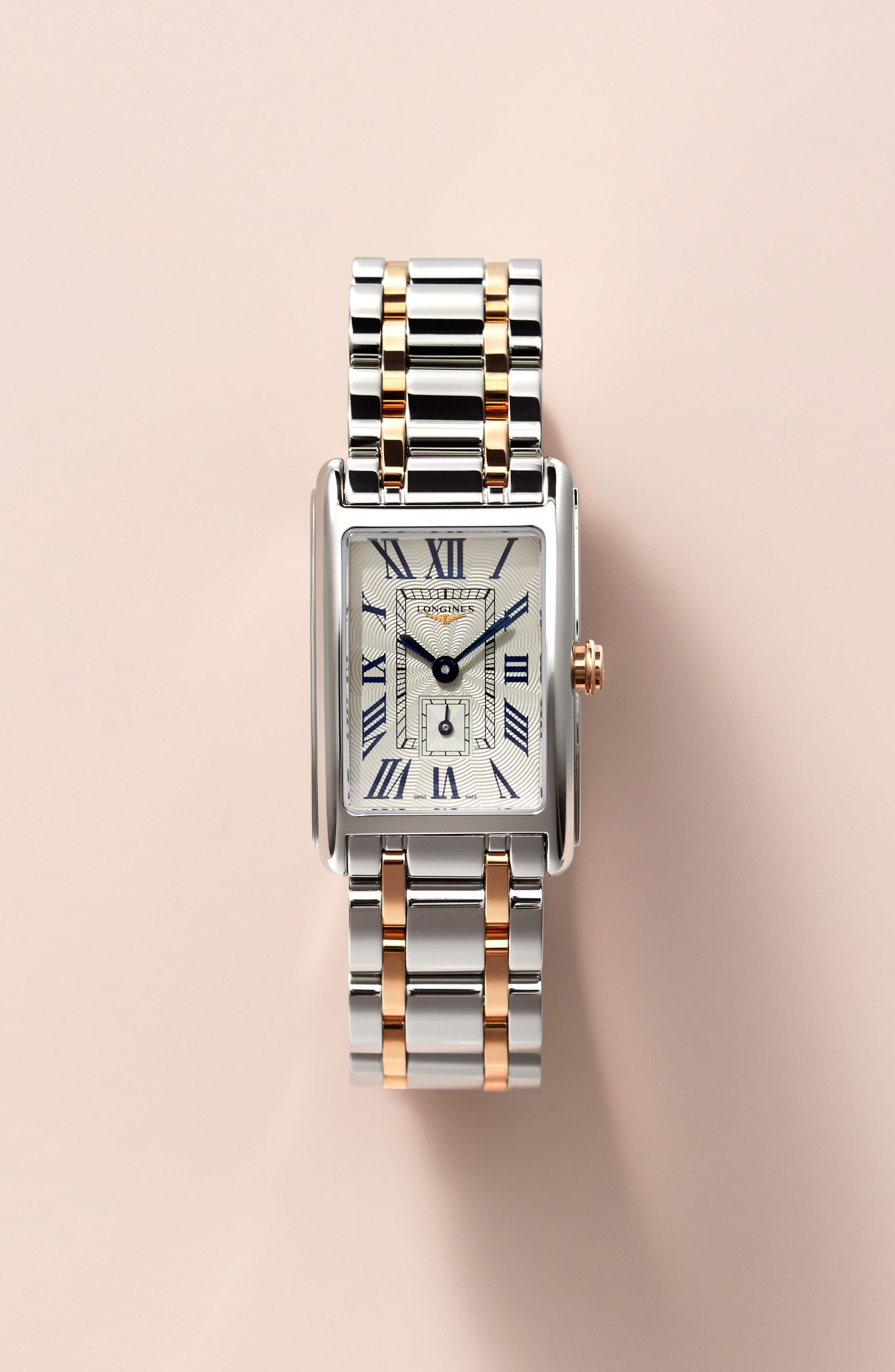 DolceVita Bracelet Watch, 20.5mm x 32mm,                             Alternate thumbnail 2, color,                             ROSE GOLD/ SILVER