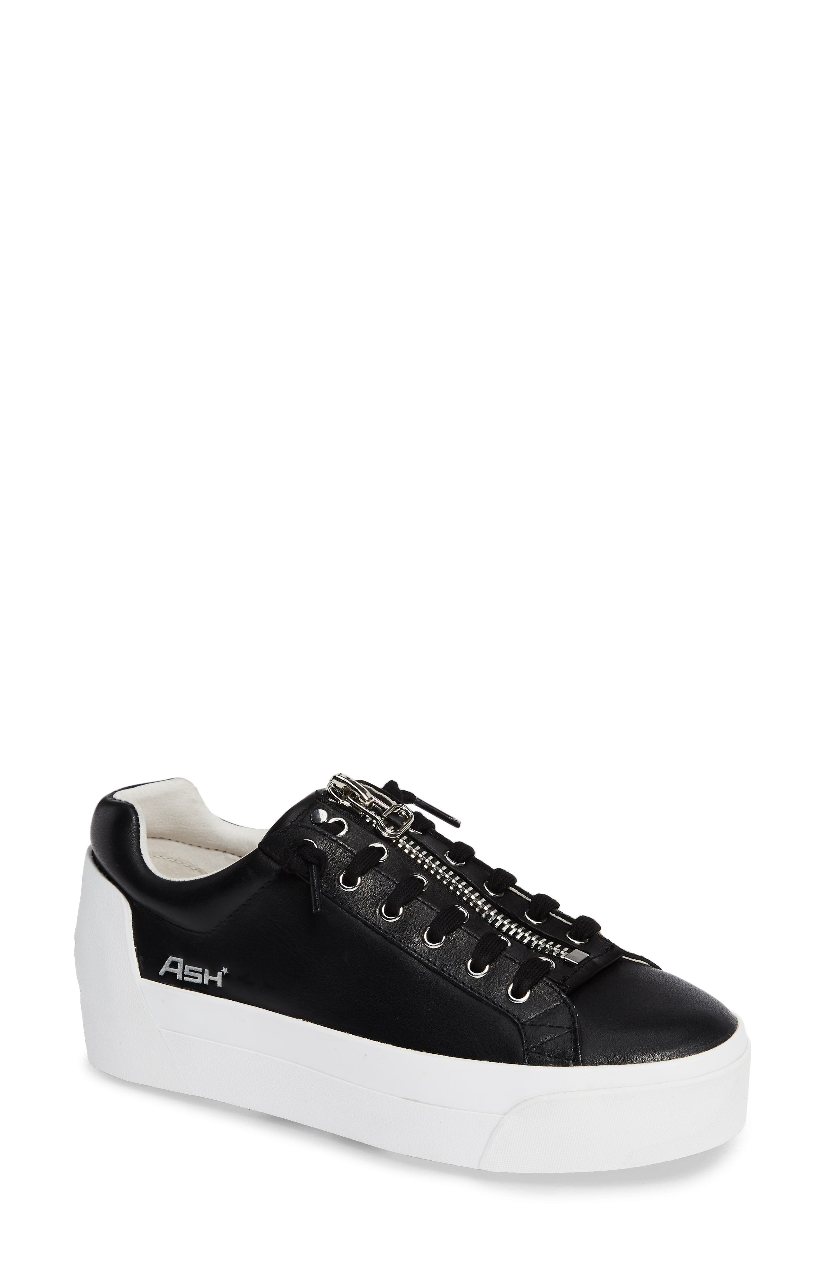 ASH Buzz Leather Flatform Creepers in Black/ Black