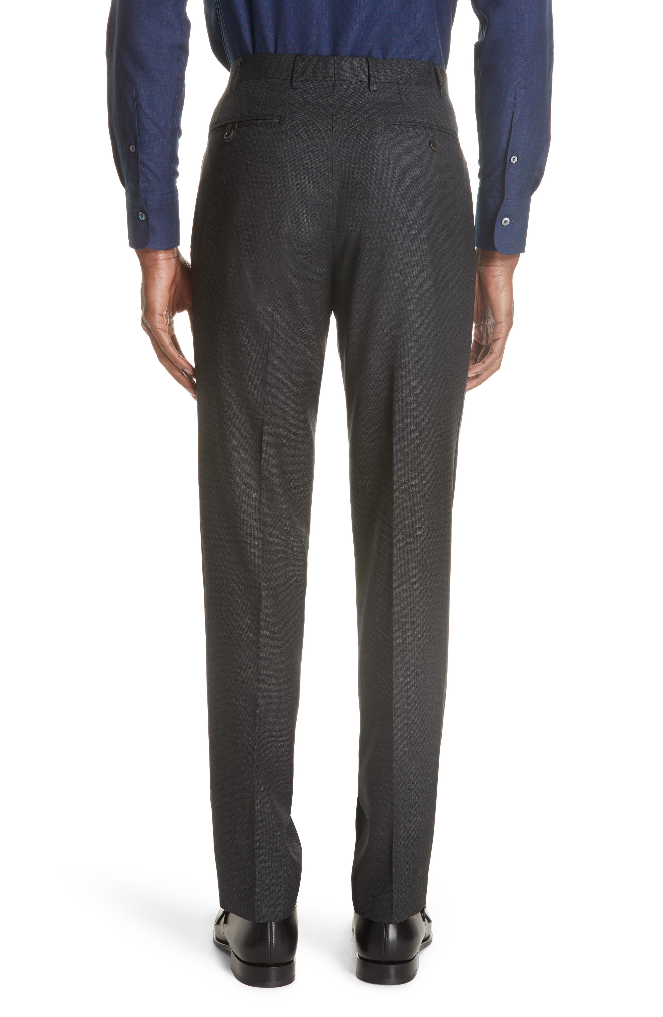 Flat Front Solid Wool Trousers,                             Alternate thumbnail 2, color,                             DARK GREEN