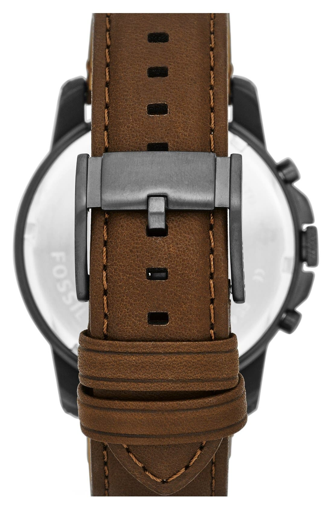 'Grant' Round Chronograph Leather Strap Watch, 44mm,                             Alternate thumbnail 42, color,