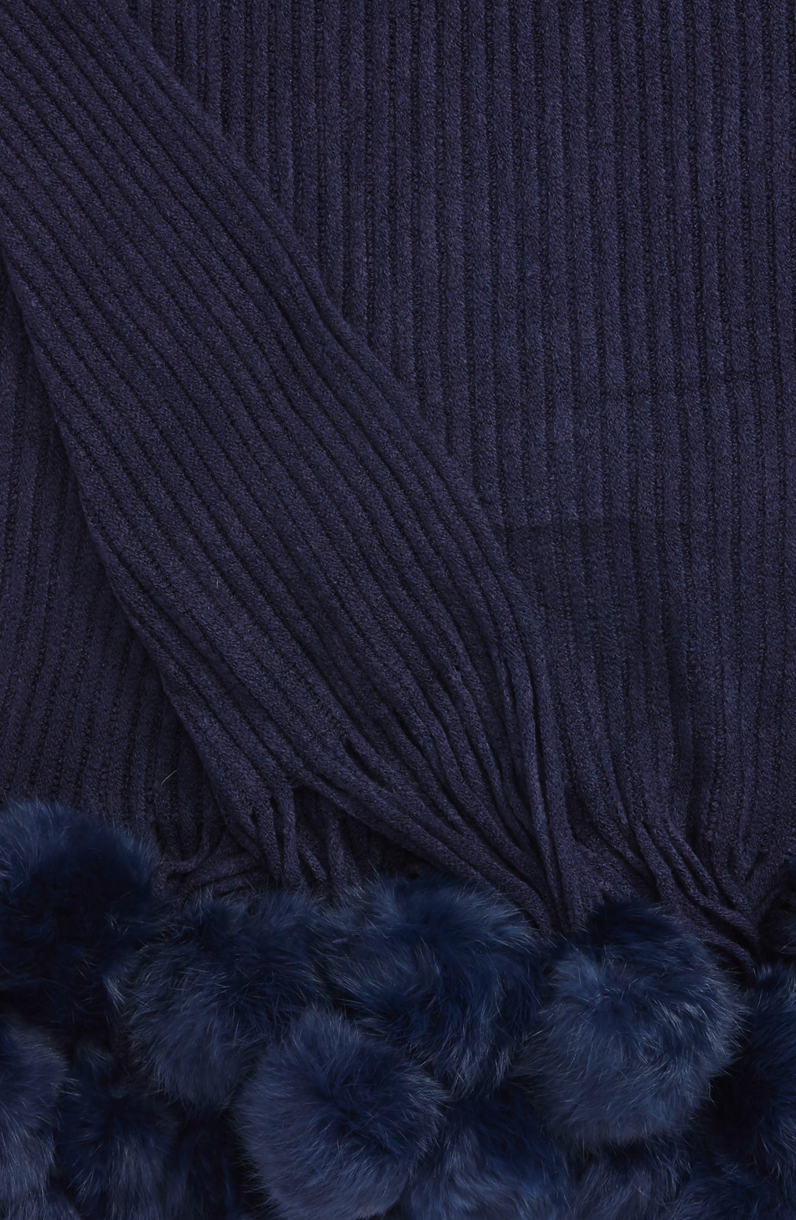 Genuine Rabbit Fur Pompom Rib Knit Throw,                             Alternate thumbnail 8, color,