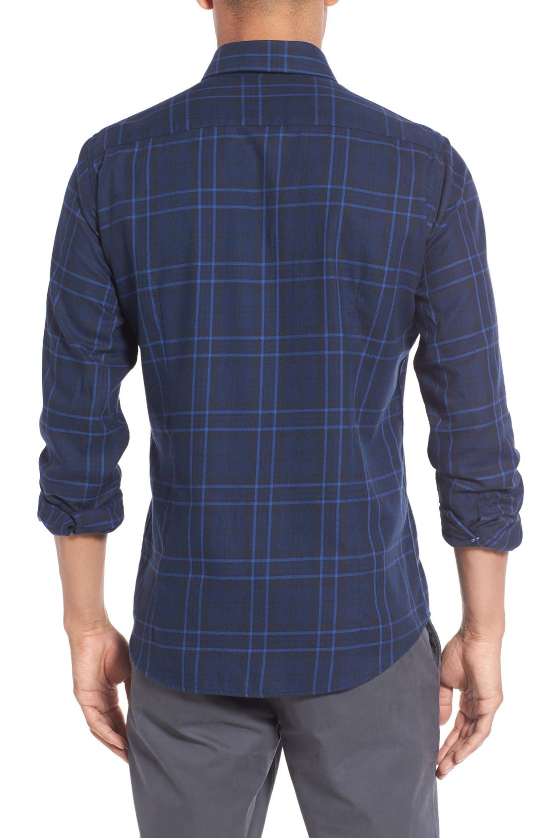 Seth Tailored Fit Plaid Sport Shirt,                             Alternate thumbnail 5, color,