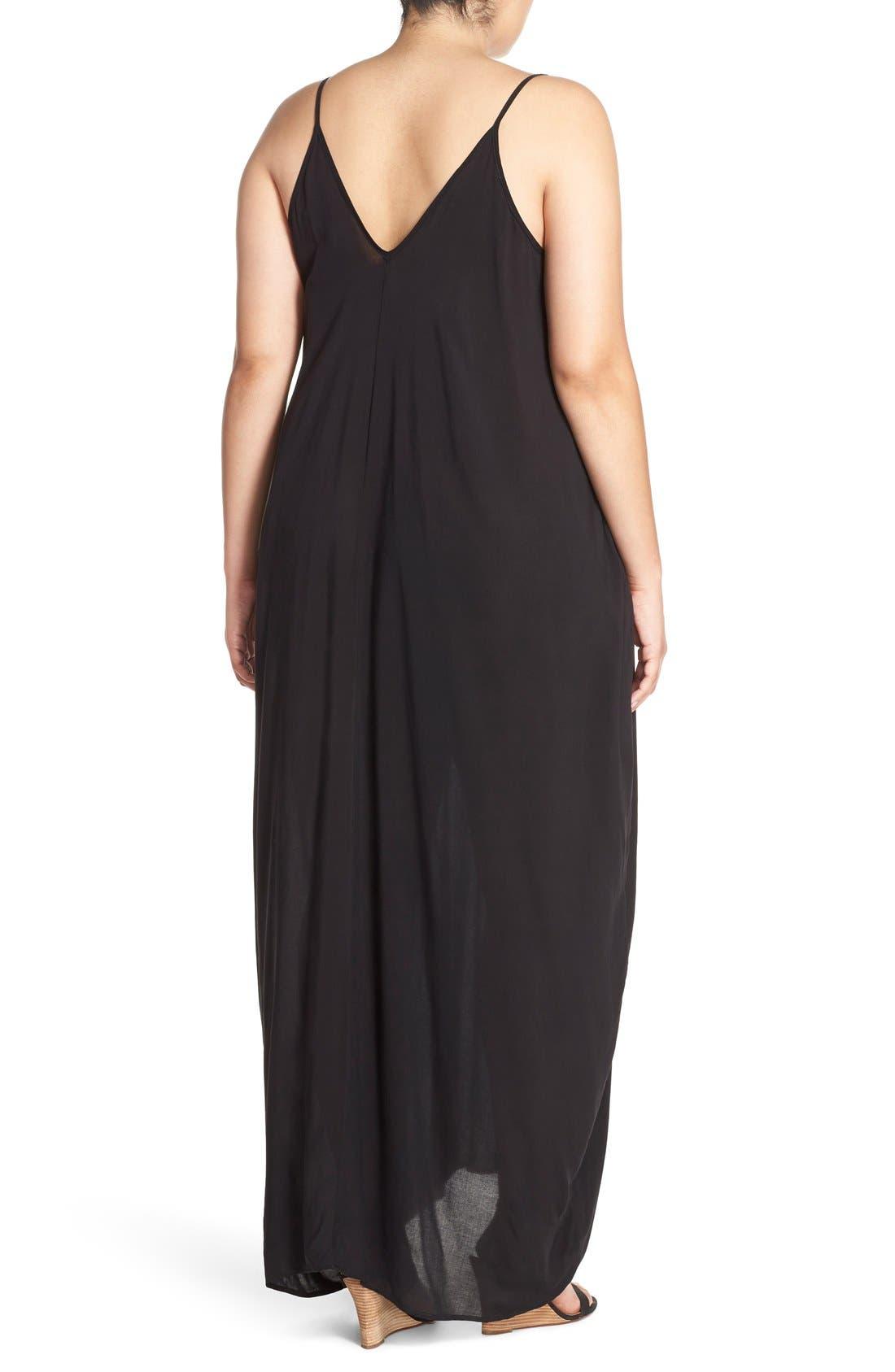 Cover-Up Maxi Dress,                             Alternate thumbnail 8, color,                             BLACK