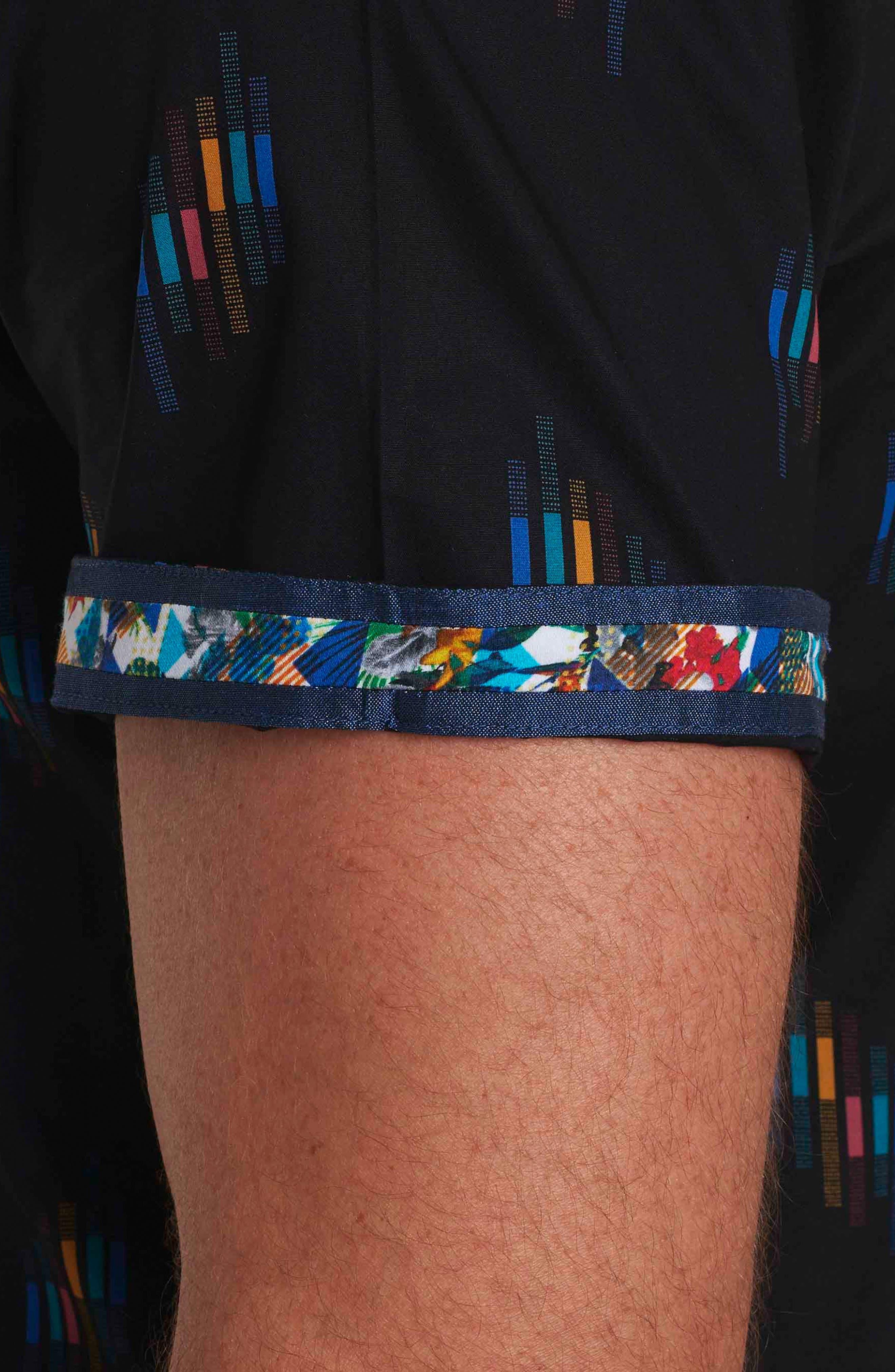 Carney Geo Print Short Sleeve Sport Shirt,                             Alternate thumbnail 3, color,                             001