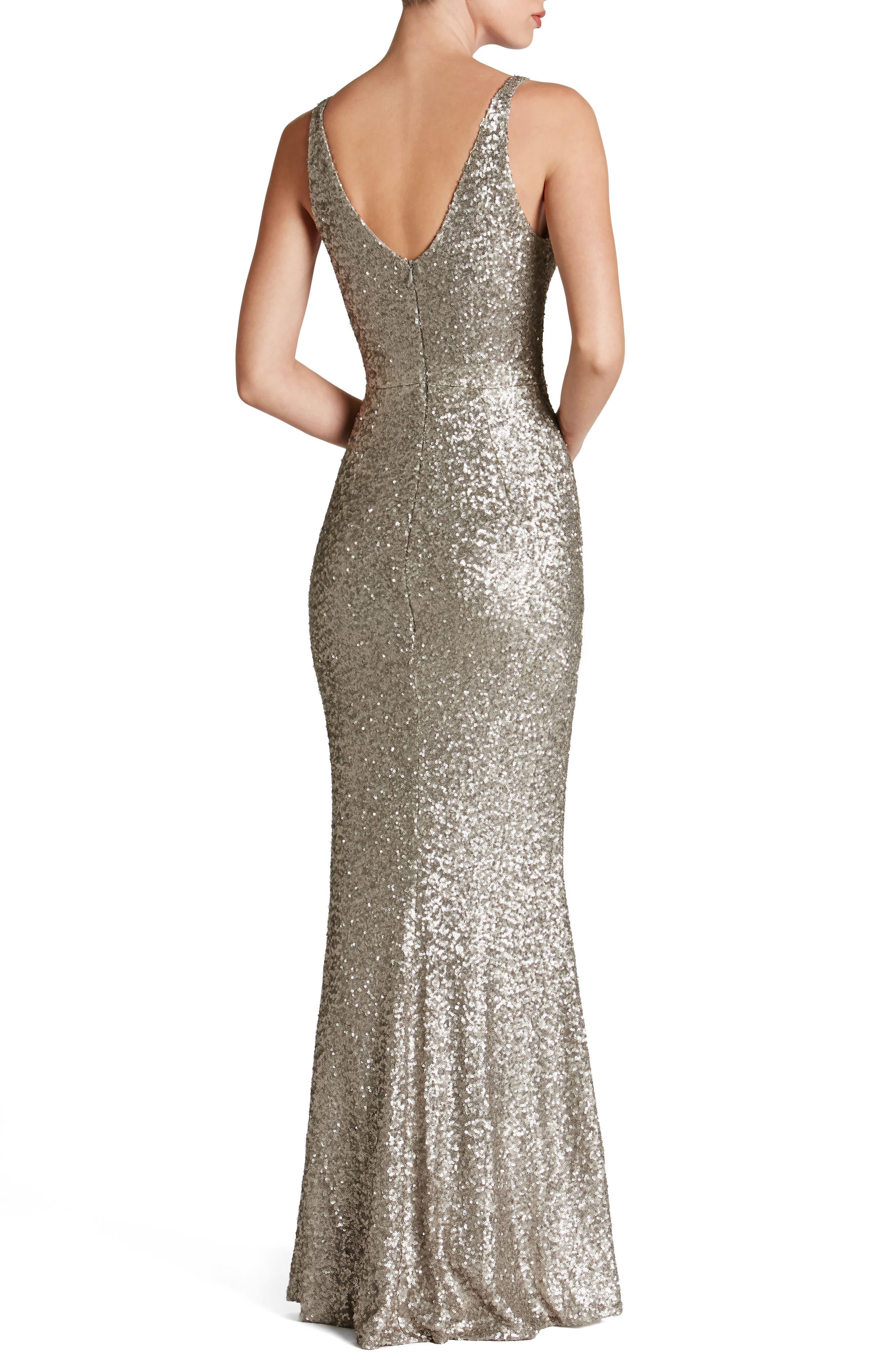 Harper Mermaid Gown,                             Alternate thumbnail 2, color,                             PLATINUM