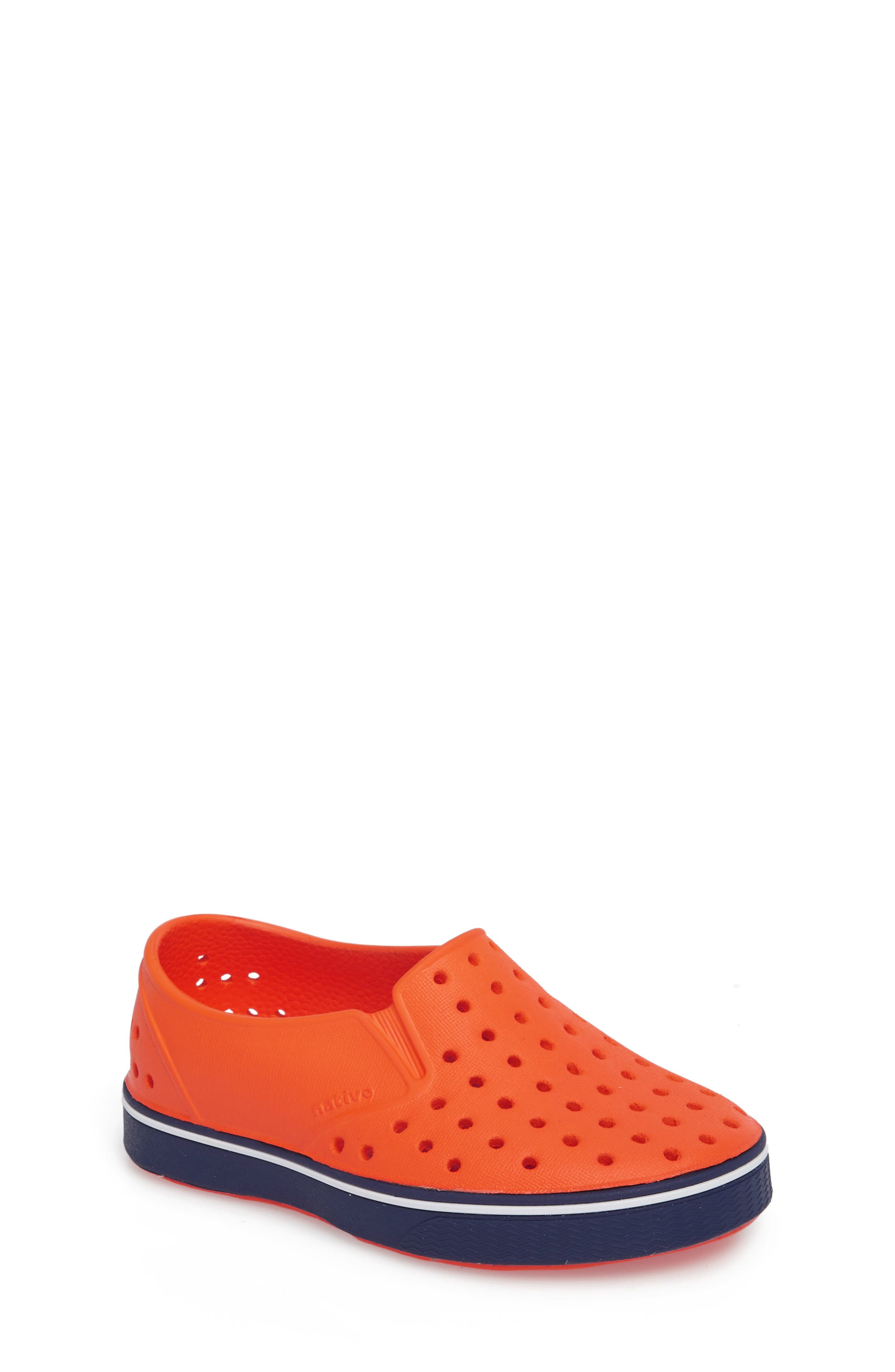 Miles Water Friendly Slip-On Sneaker,                             Main thumbnail 1, color,                             SUNSET ORANGE/ REGATTA BLUE