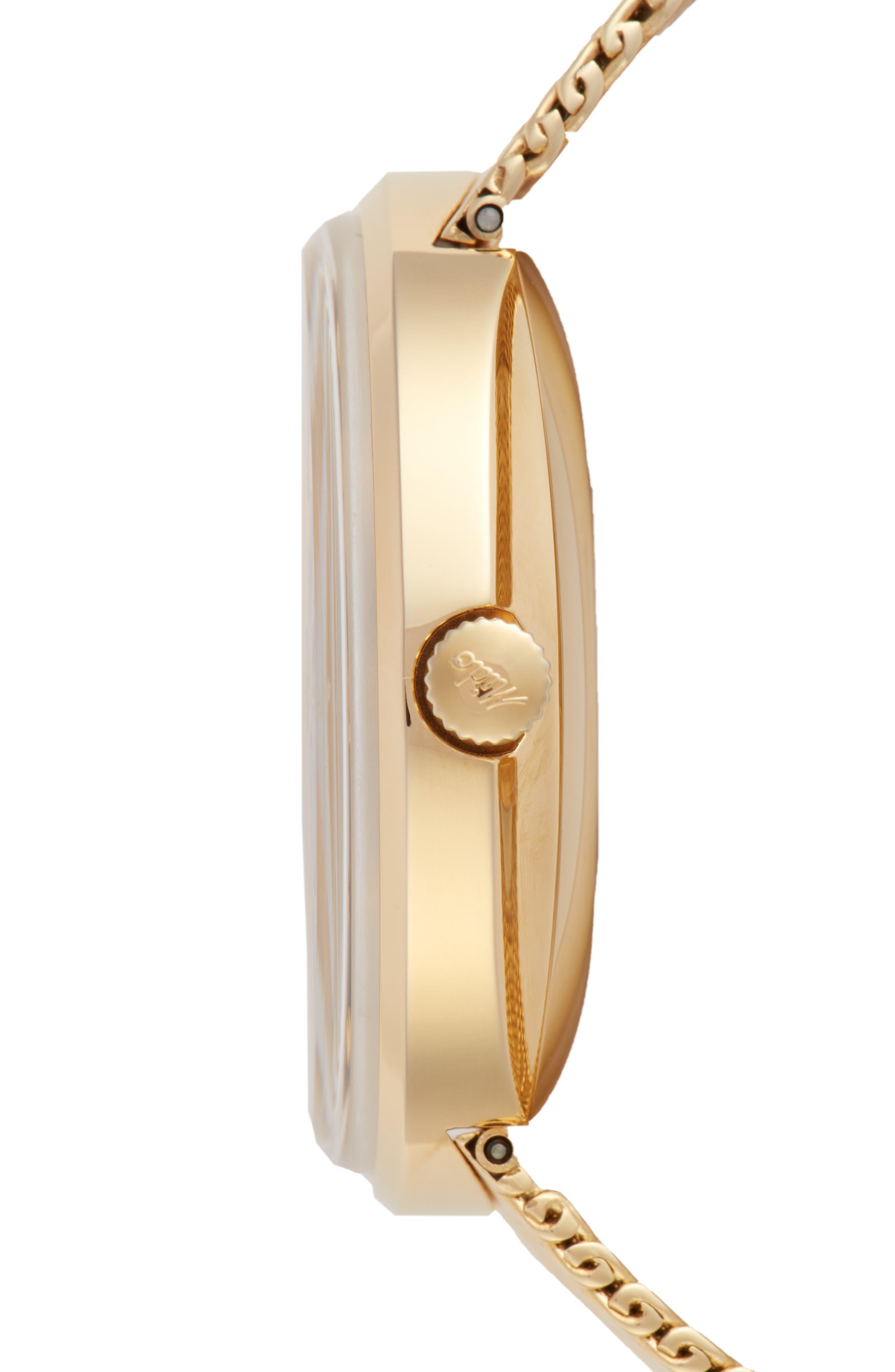 Commander Automatic Mesh Strap Watch, 37mm,                             Alternate thumbnail 3, color,                             GOLD/ BLACK/ GOLD