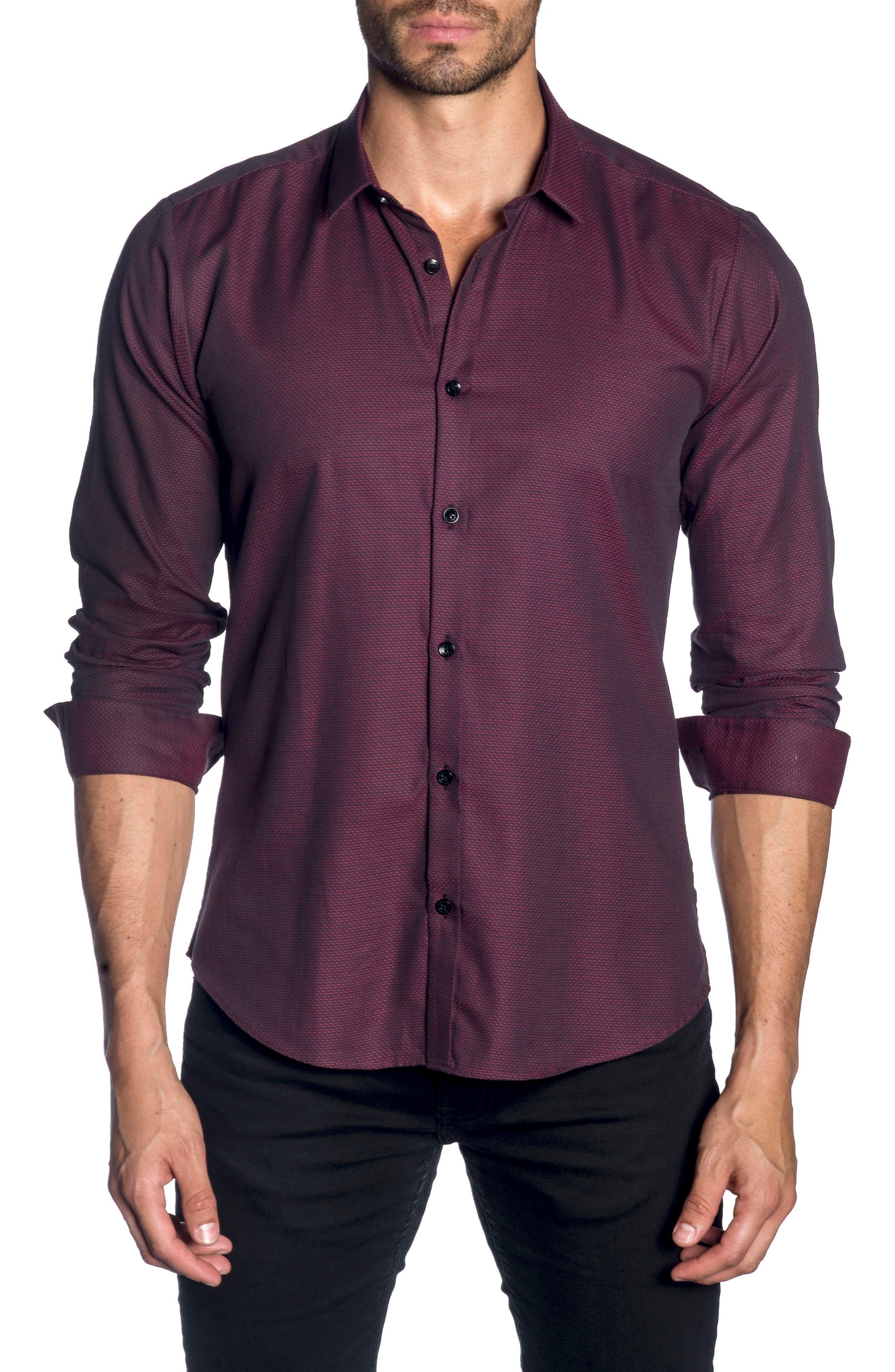 JARED LANG Trim Fit Sport Shirt, Main, color, 600