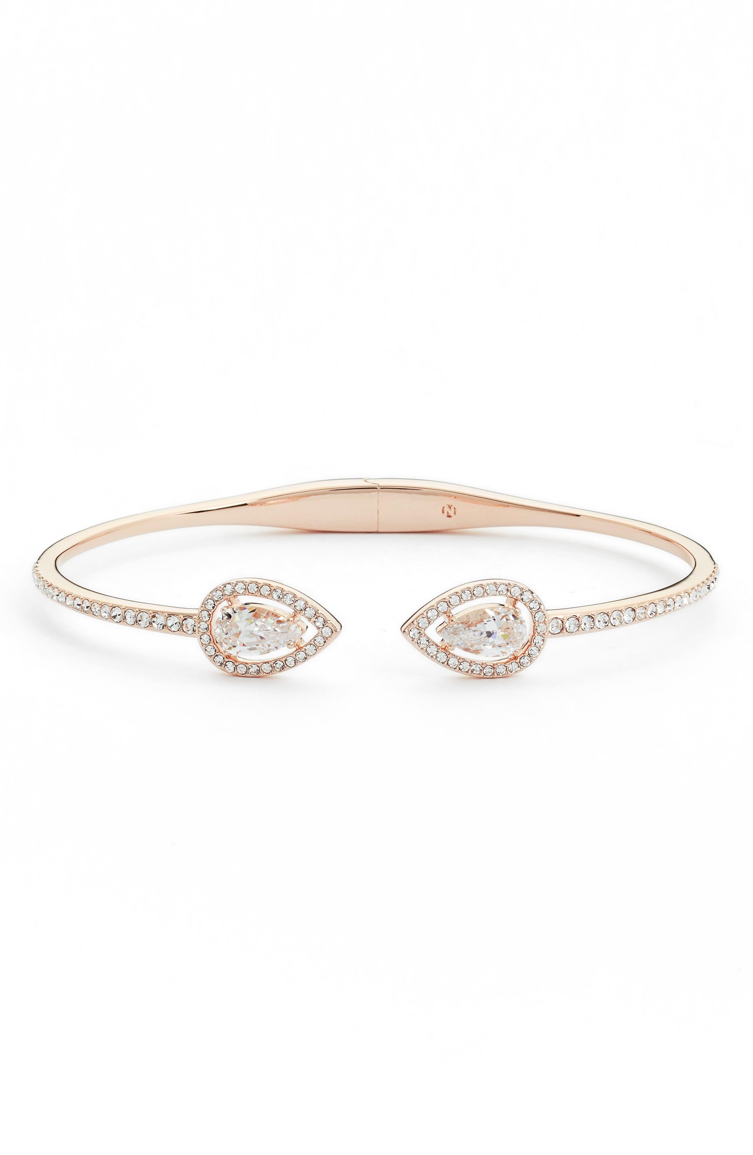 Pear Halo Hinge Bracelet,                         Main,                         color, ROSE GOLD