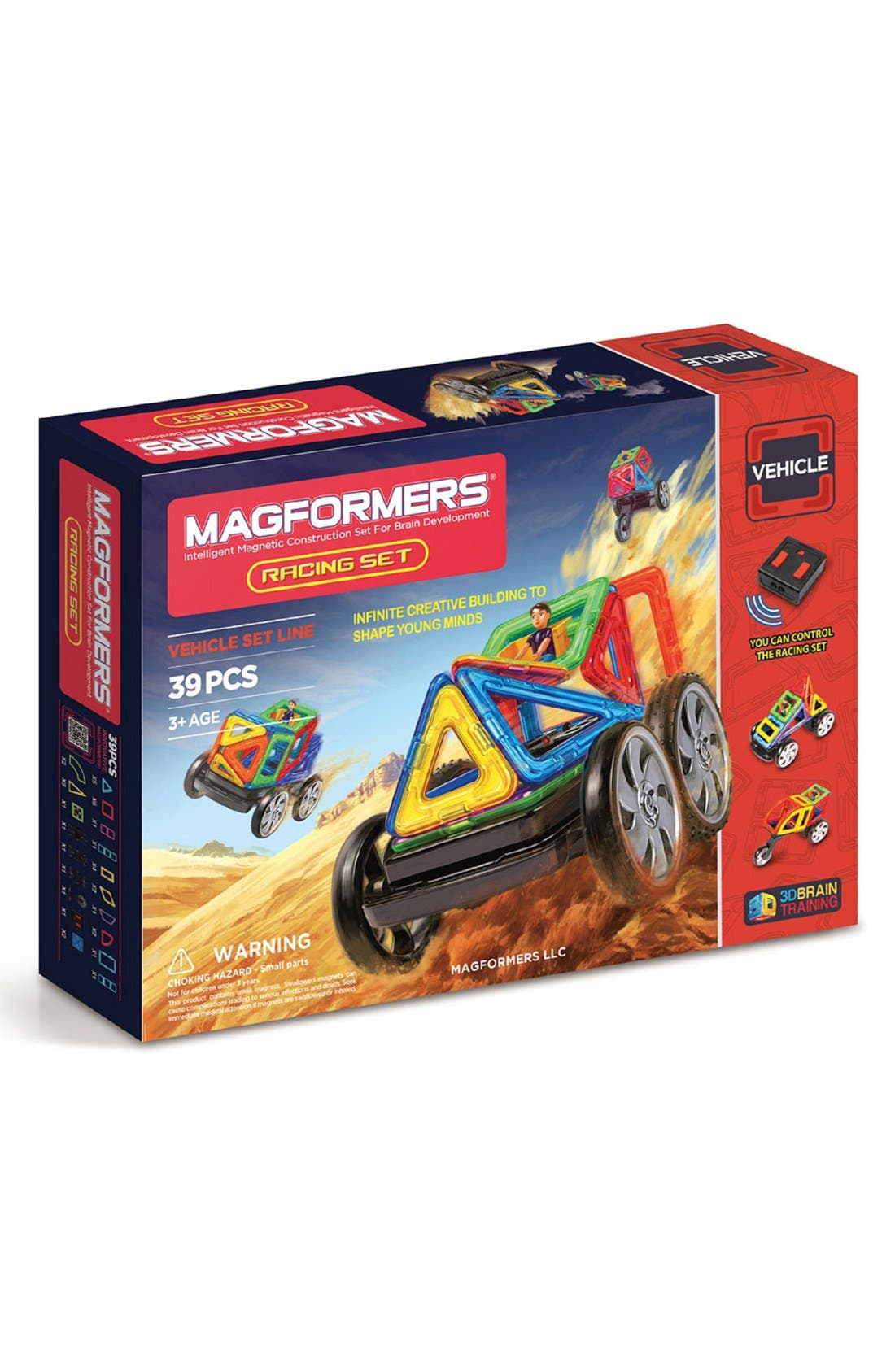 'Racing' Magnetic Remote Control Vehicle Construction Set,                         Main,                         color, Rainbow
