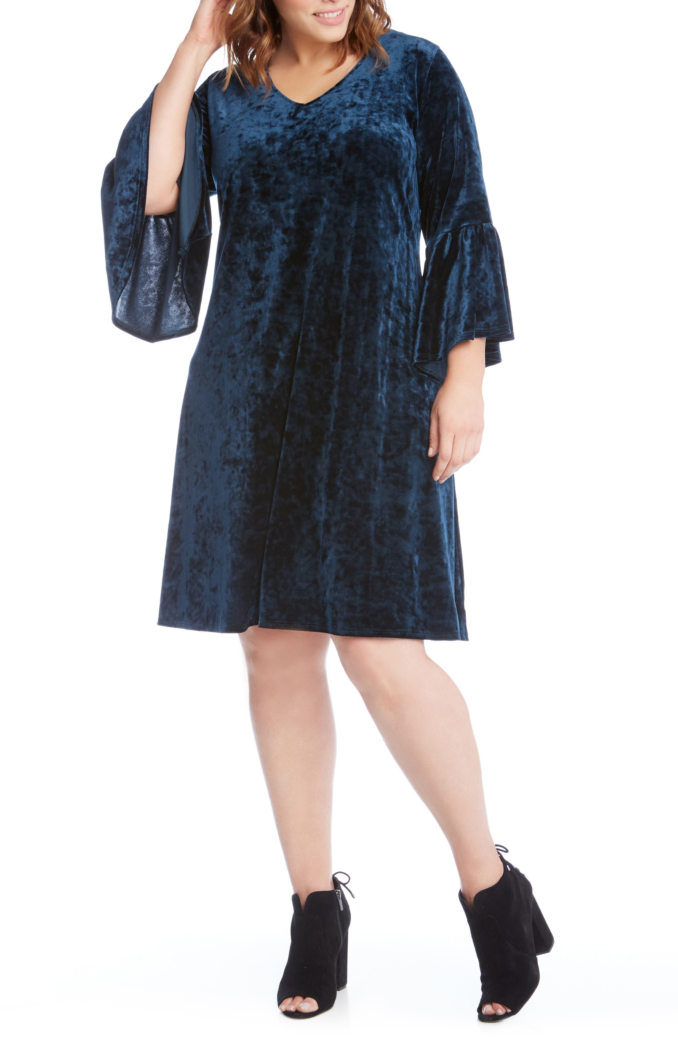 Plus Size Karen Kane Bell Sleeve Velvet Dress, Blue/green