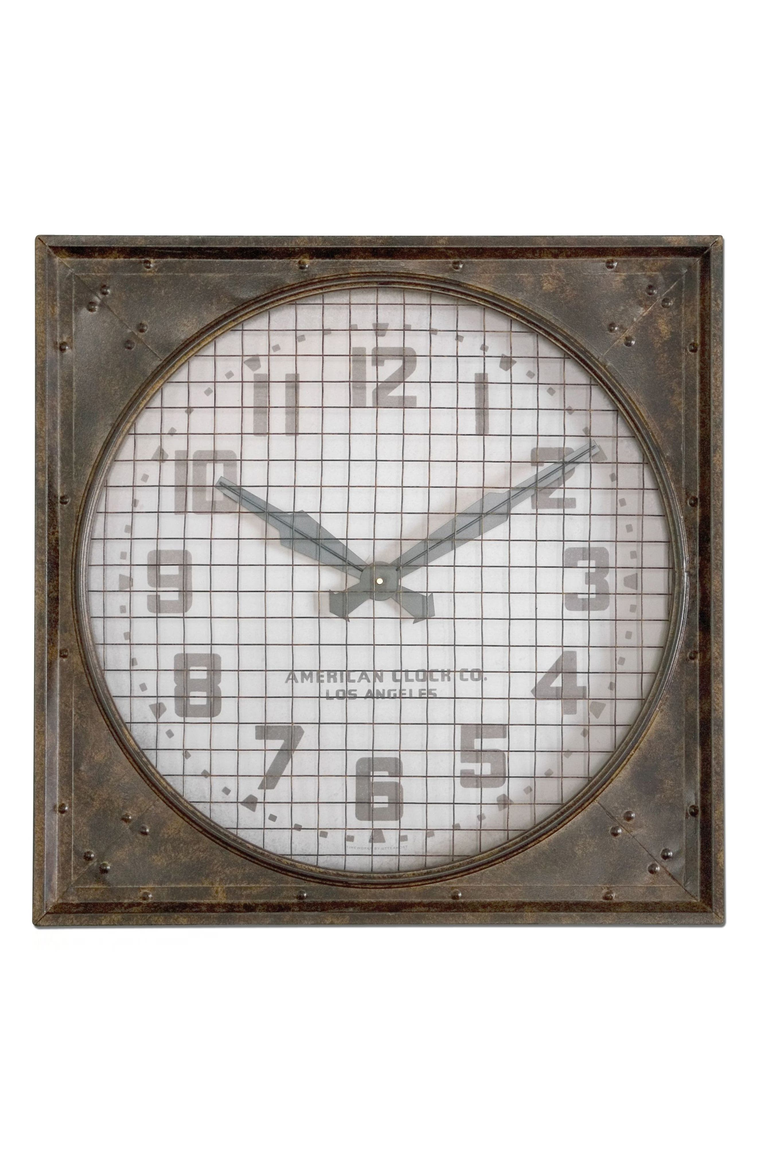 'Warehouse' Wall Clock with Grill,                             Alternate thumbnail 2, color,                             100