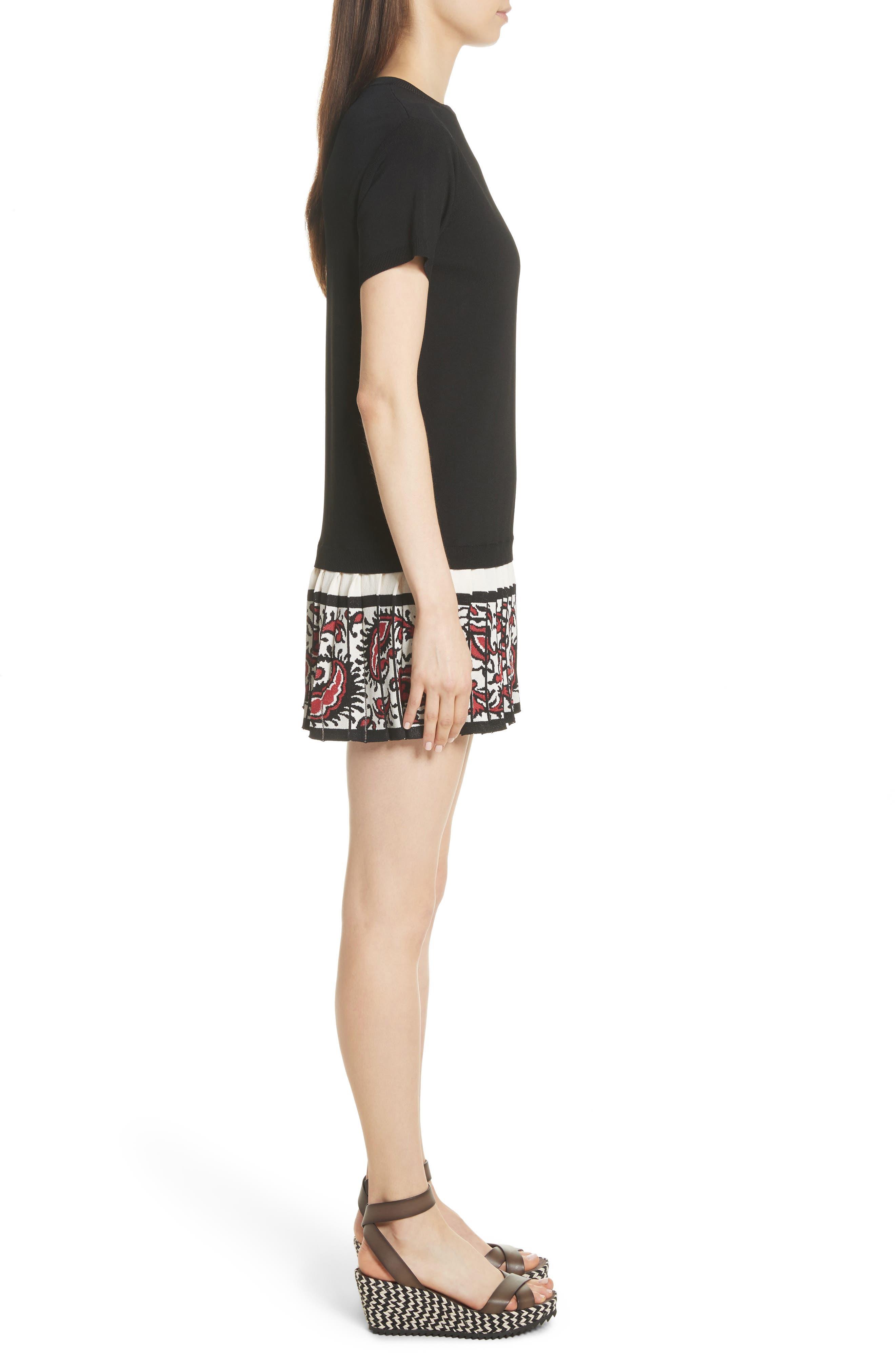 Pleated Hem T-Shirt Dress,                             Alternate thumbnail 3, color,                             001