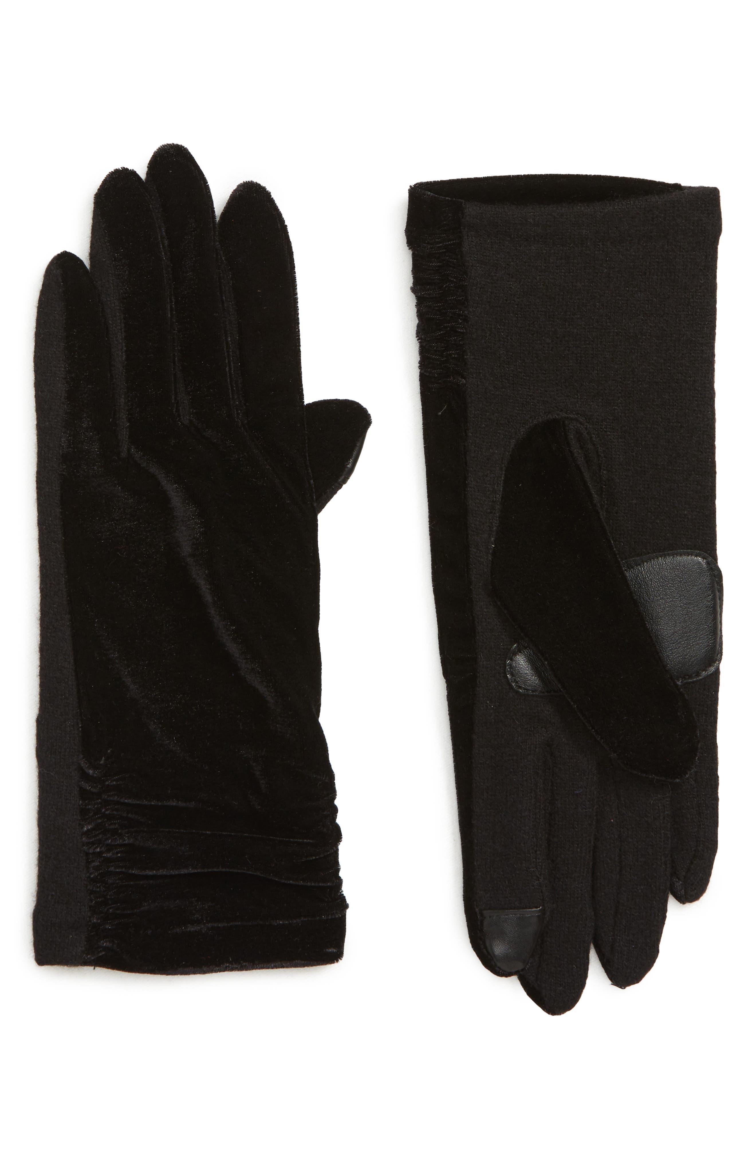 Radhika Vevlet Touch<sup>®</sup> Gloves,                             Main thumbnail 1, color,                             BLACK
