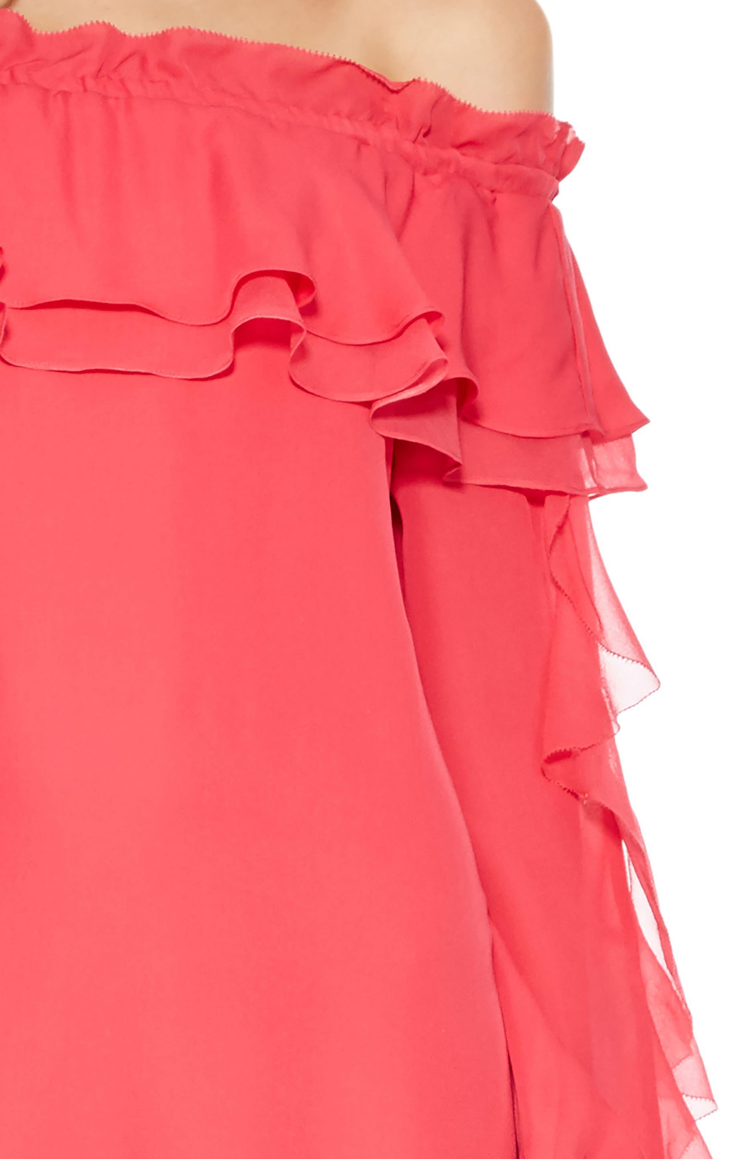 Isa Combo Silk Dress,                             Alternate thumbnail 4, color,                             PRISM PINK
