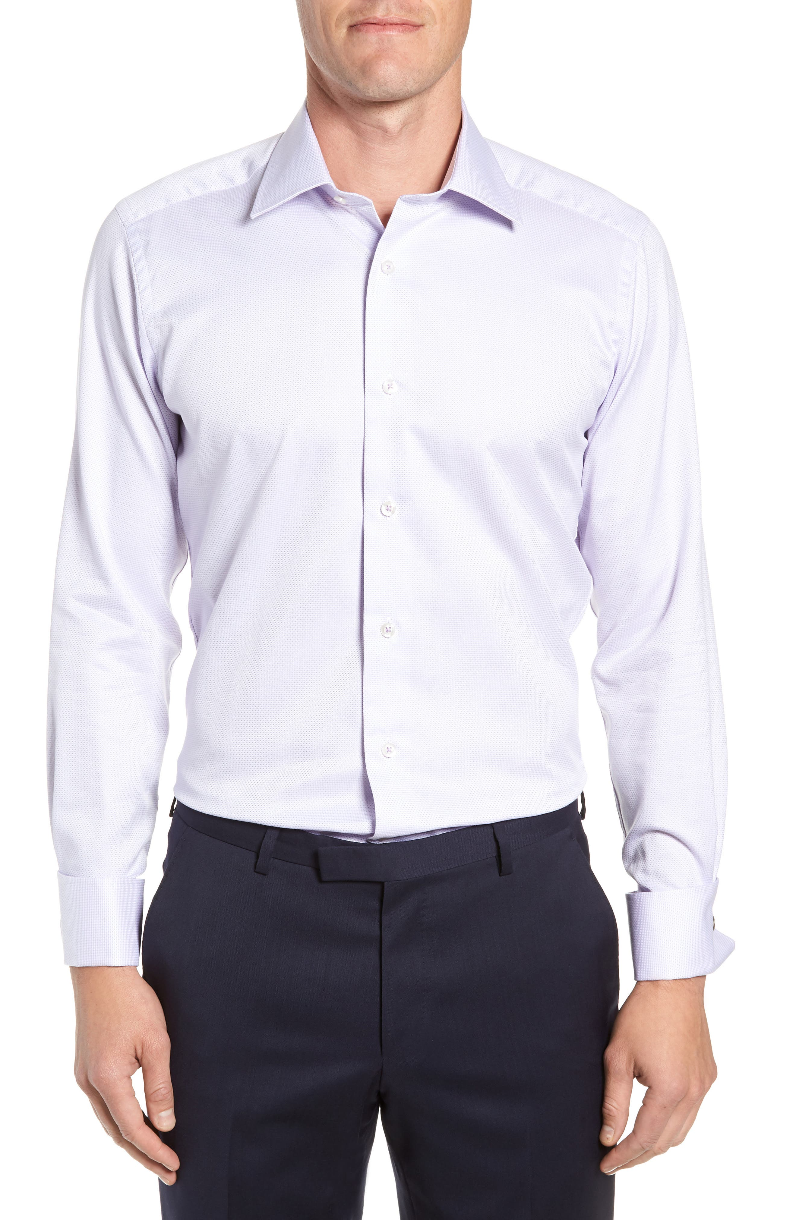 DAVID DONAHUE Men'S Trim-Fit Micro Dobby Dress Shirt With French Cuffs in Lilac