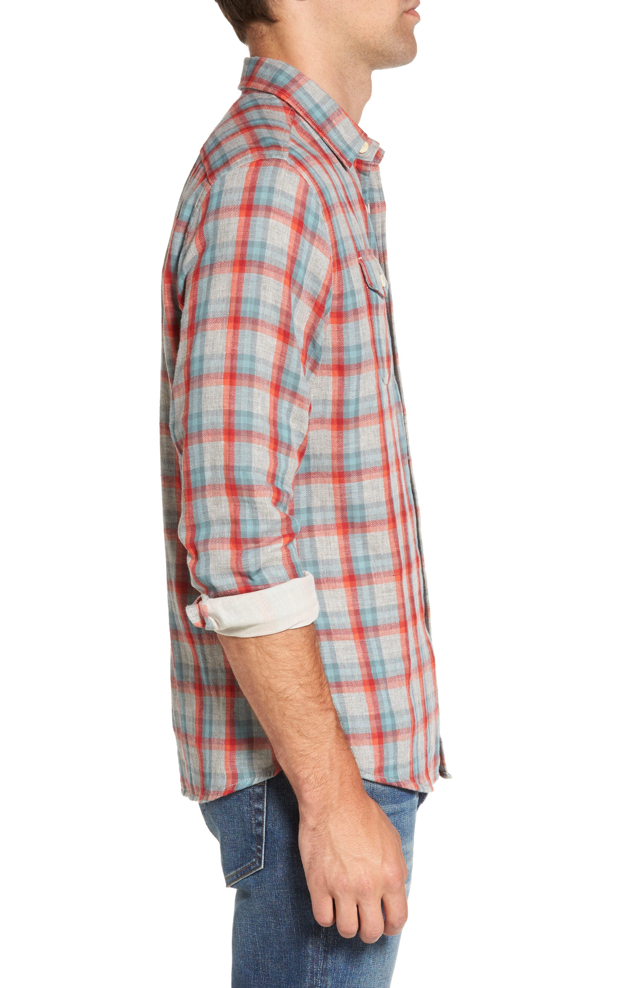 Sherman Modern Fit Double Cloth Windowpane Sport Shirt,                             Alternate thumbnail 3, color,