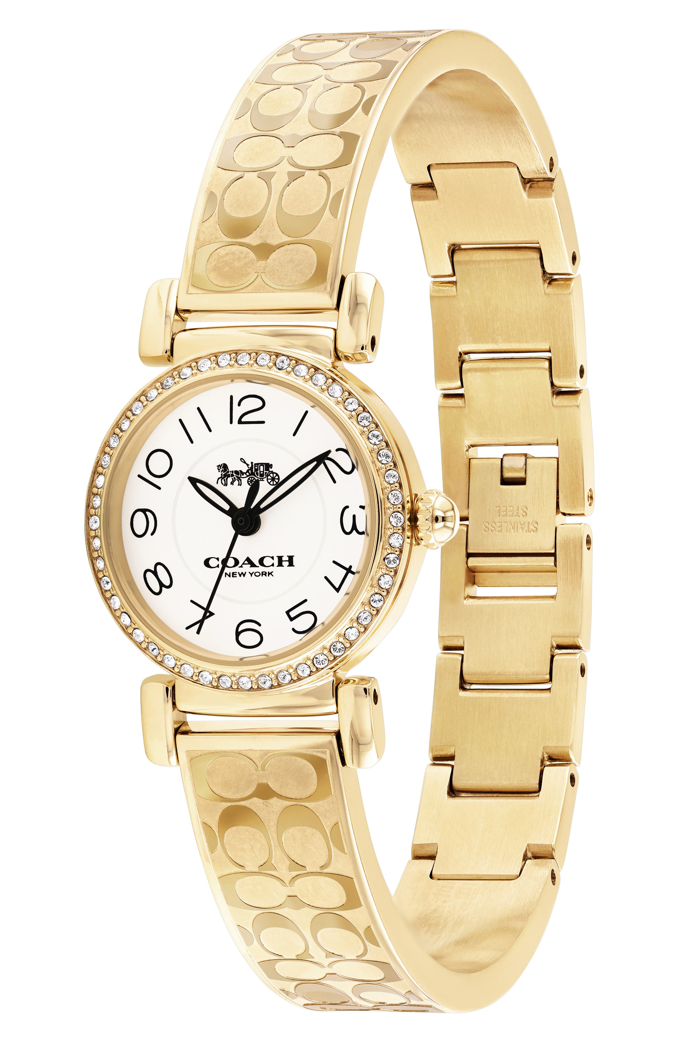 Madison Crystal Bracelet Watch, 23mm,                             Alternate thumbnail 3, color,                             GOLD/ WHITE/ SILVER