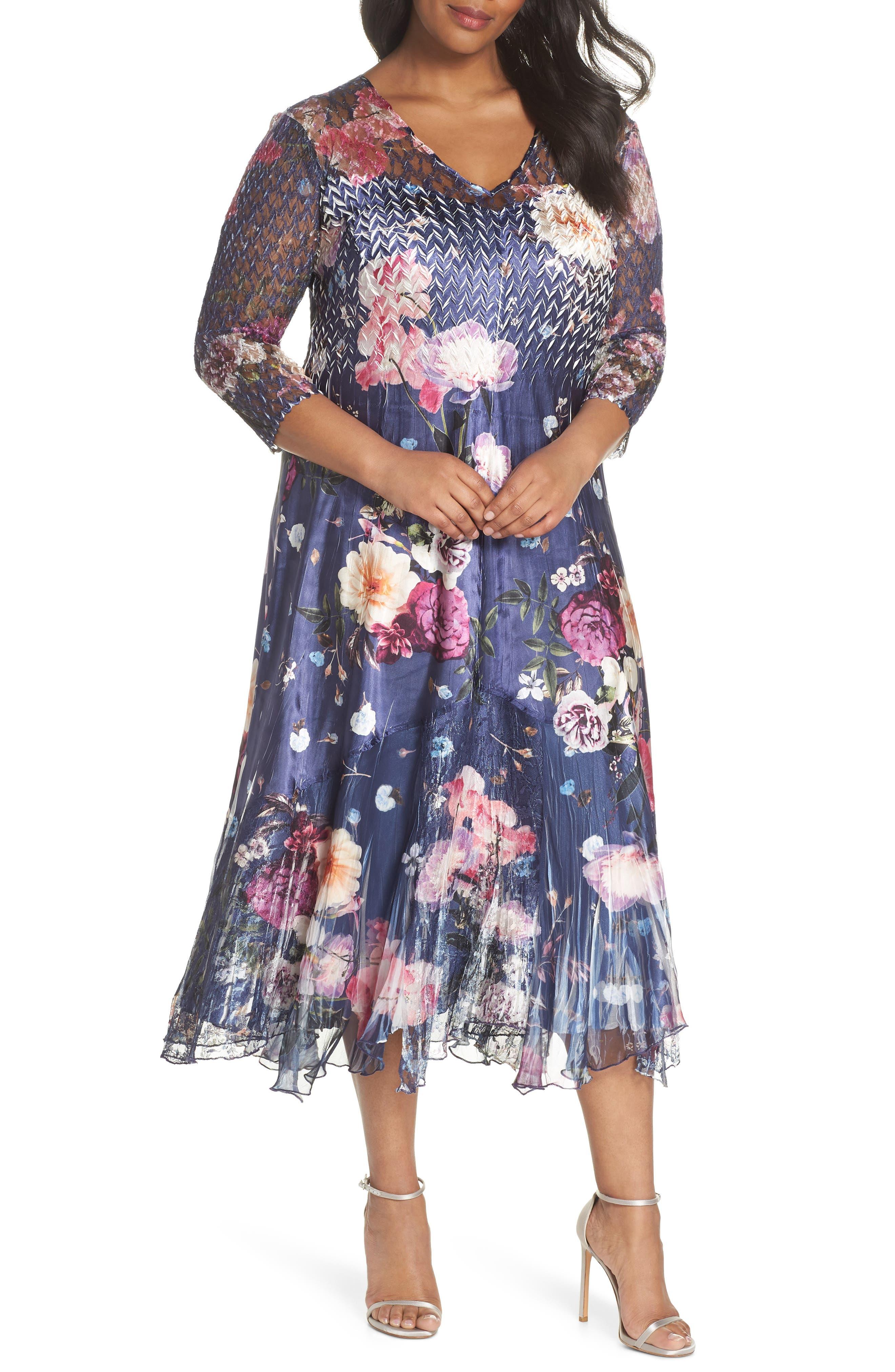 Koramov Floral Print Lace Inset Dress,                         Main,                         color, 500
