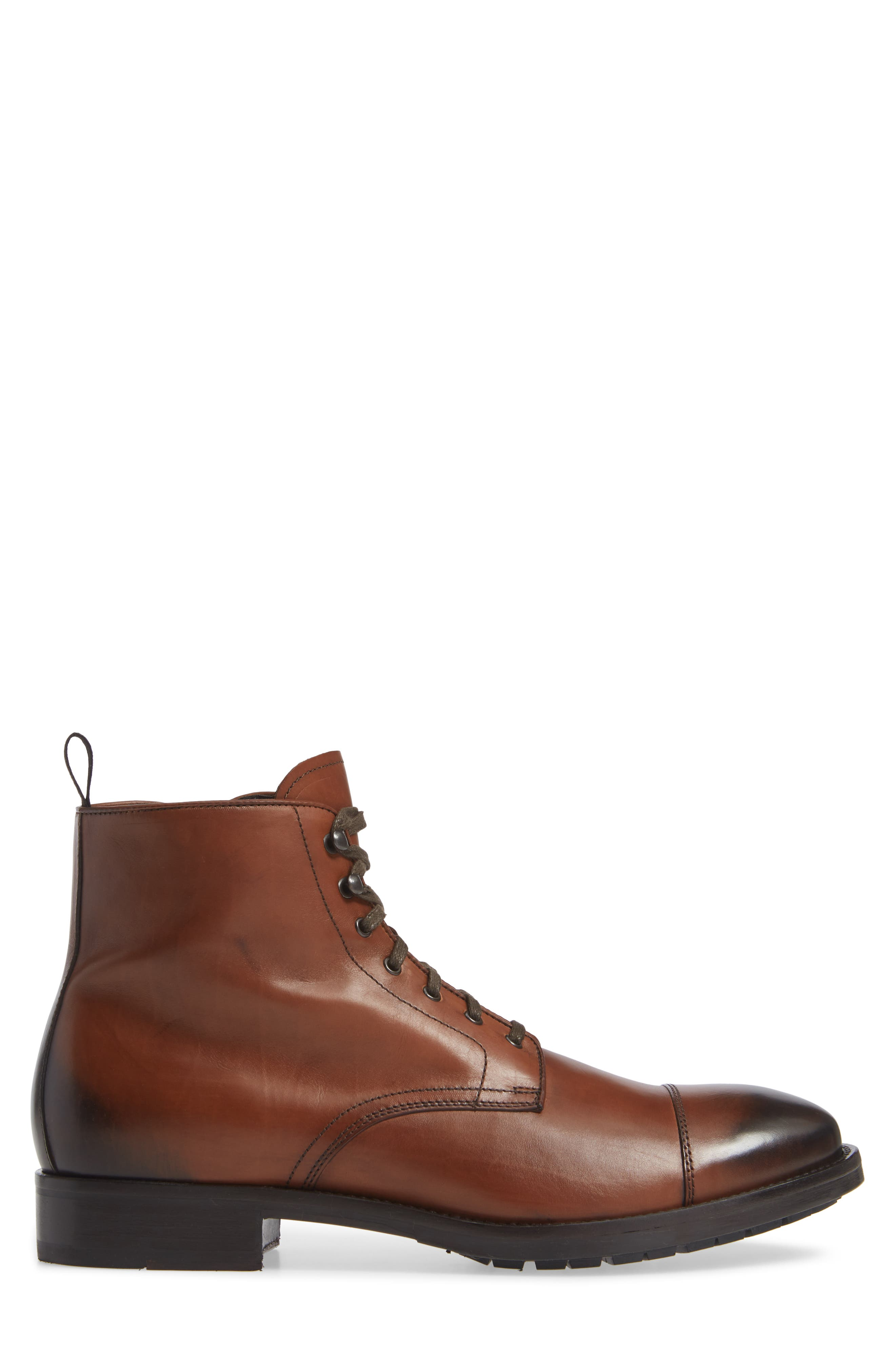 Concord Cap Toe Boot,                             Alternate thumbnail 3, color,                             BROWN LEATHER