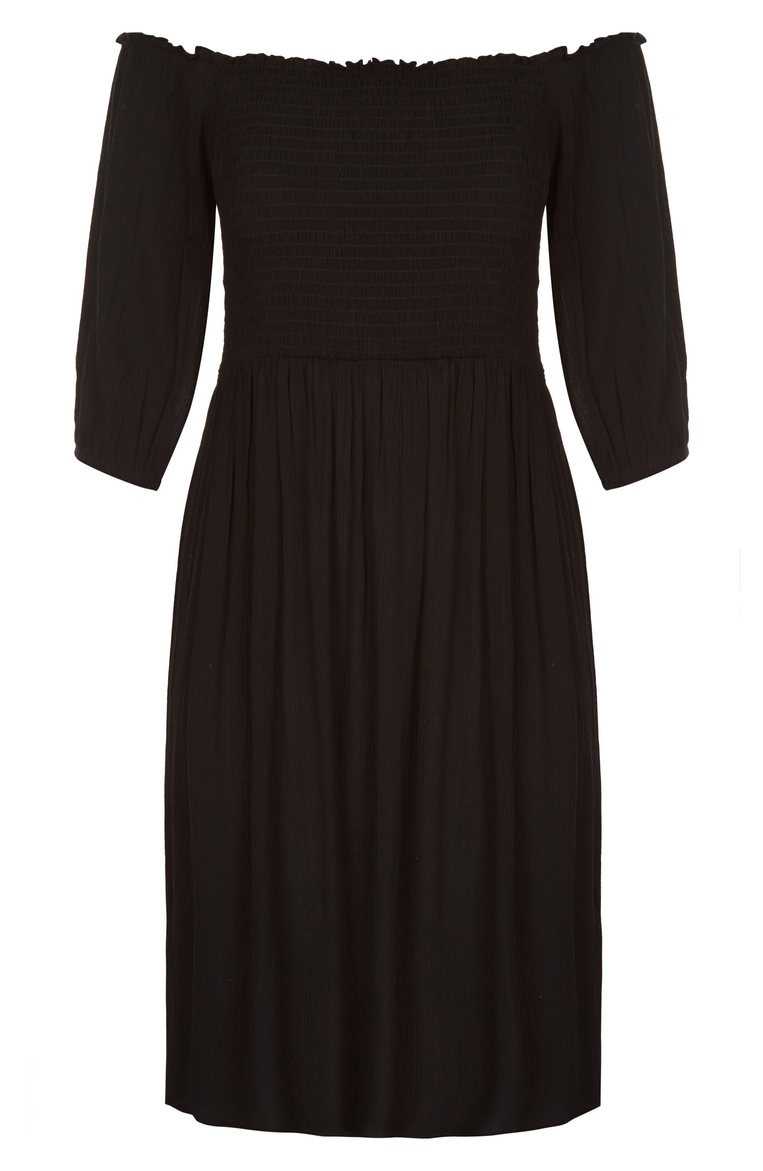 Calista Off the Shoulder Dress,                             Alternate thumbnail 3, color,                             BLACK
