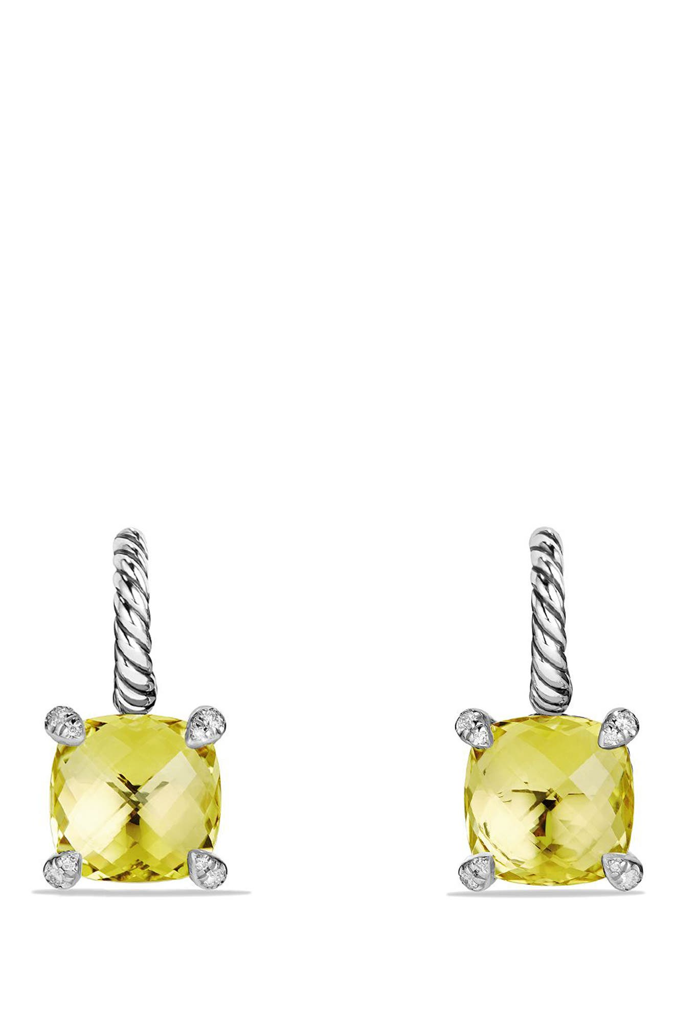 'Châtelaine' Drop Earrings with Semiprecious Stones and Diamonds,                             Alternate thumbnail 3, color,                             001