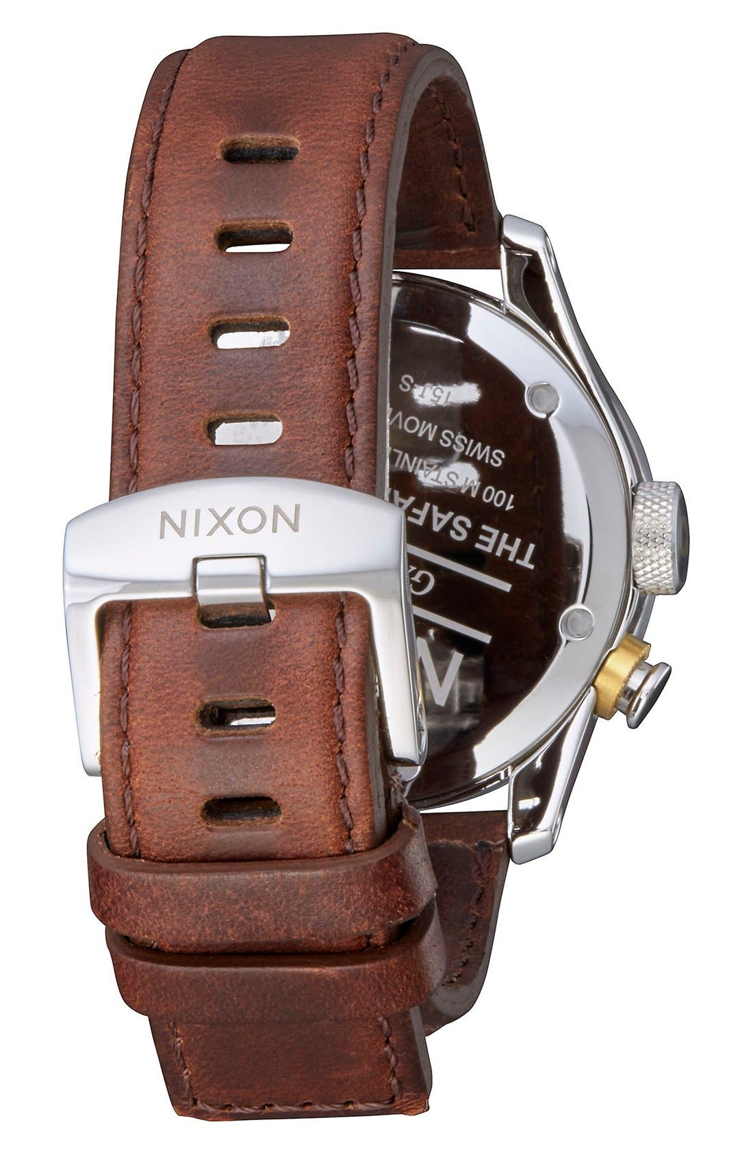 'Safari Deluxe' Leather Strap Watch, 43mm,                             Alternate thumbnail 3, color,                             BROWN/ BLACK