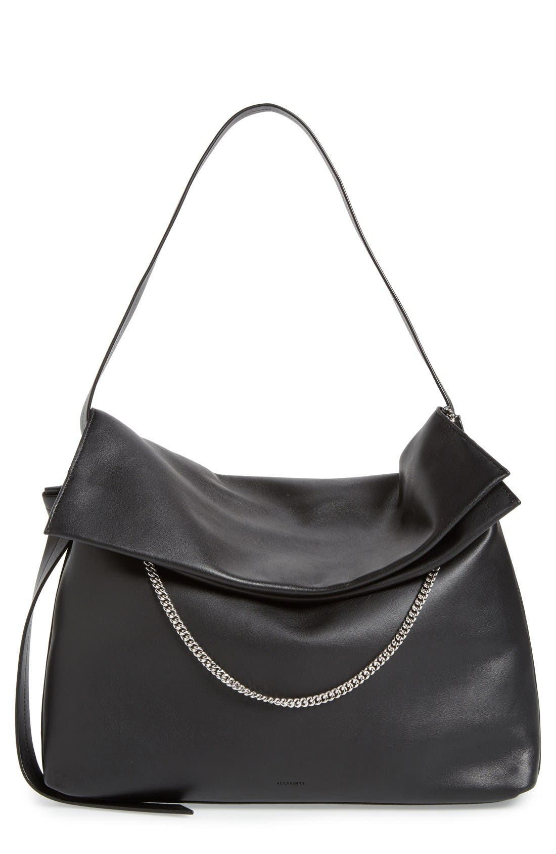 'Large Lafayette' Leather Shoulder Bag, Main, color, 001
